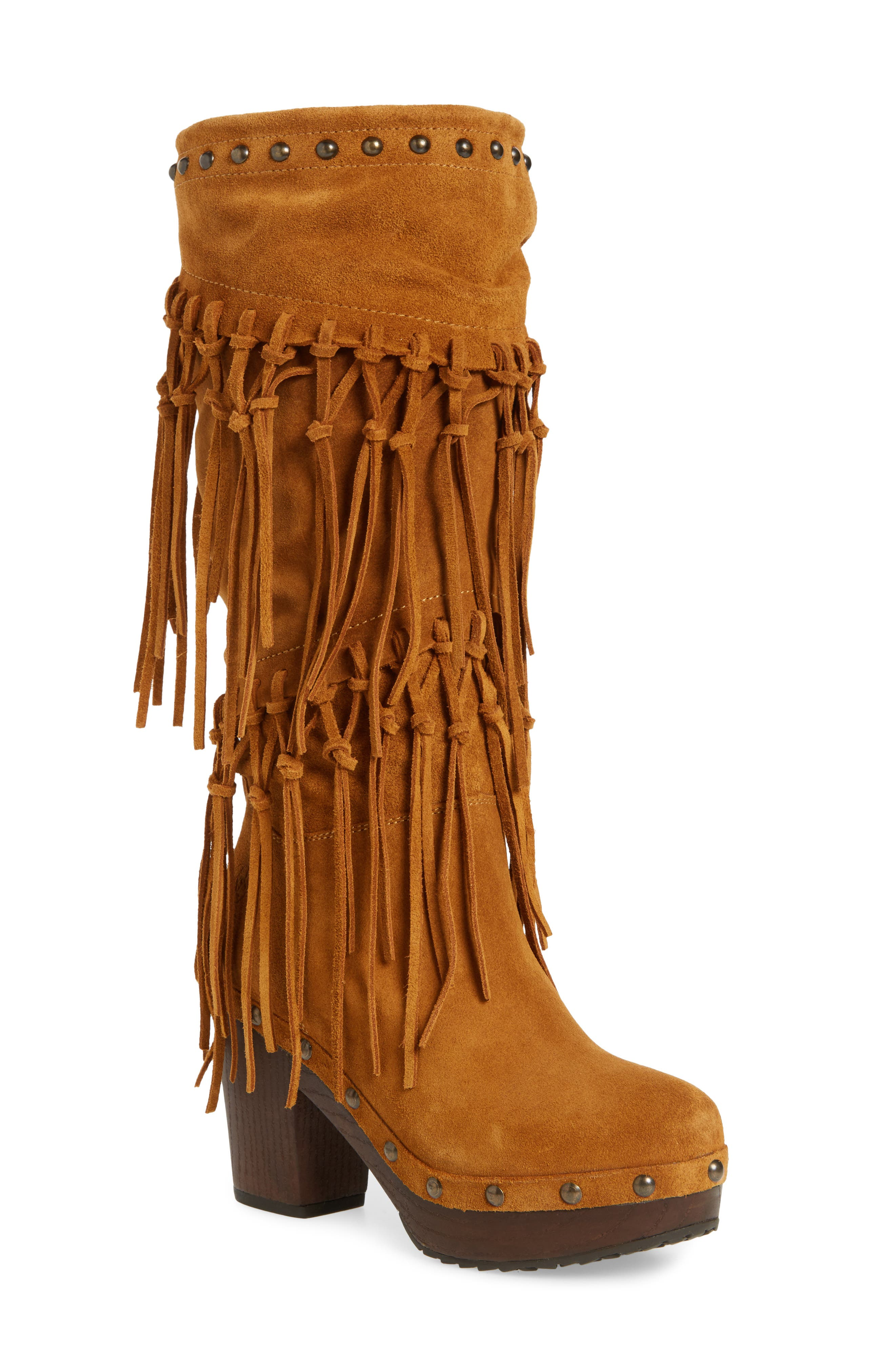 Music Row Fringe Boot,                             Main thumbnail 1, color,                             Wheat Fields