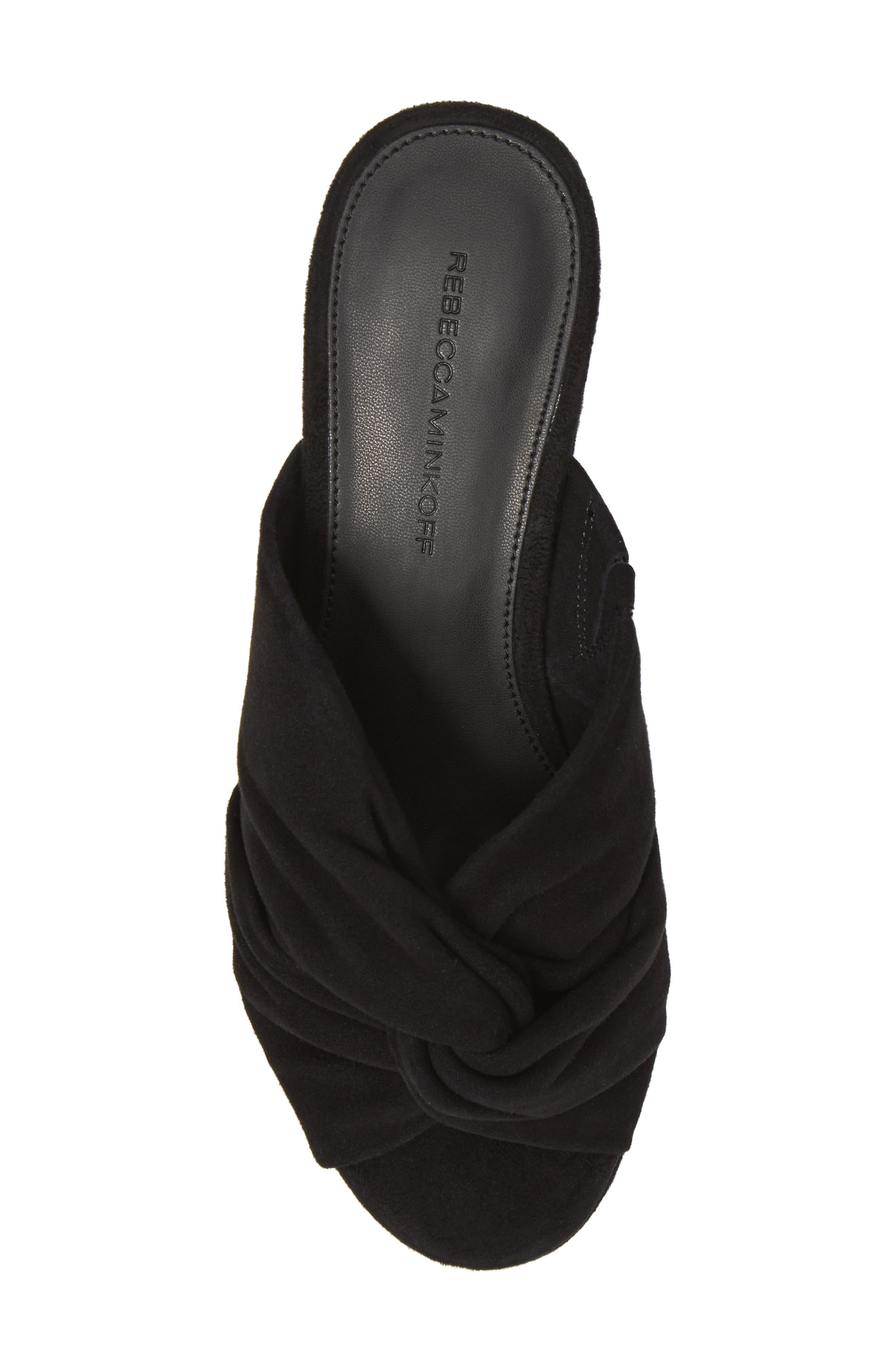Jaden Slide Sandal,                             Alternate thumbnail 5, color,                             Black Satin