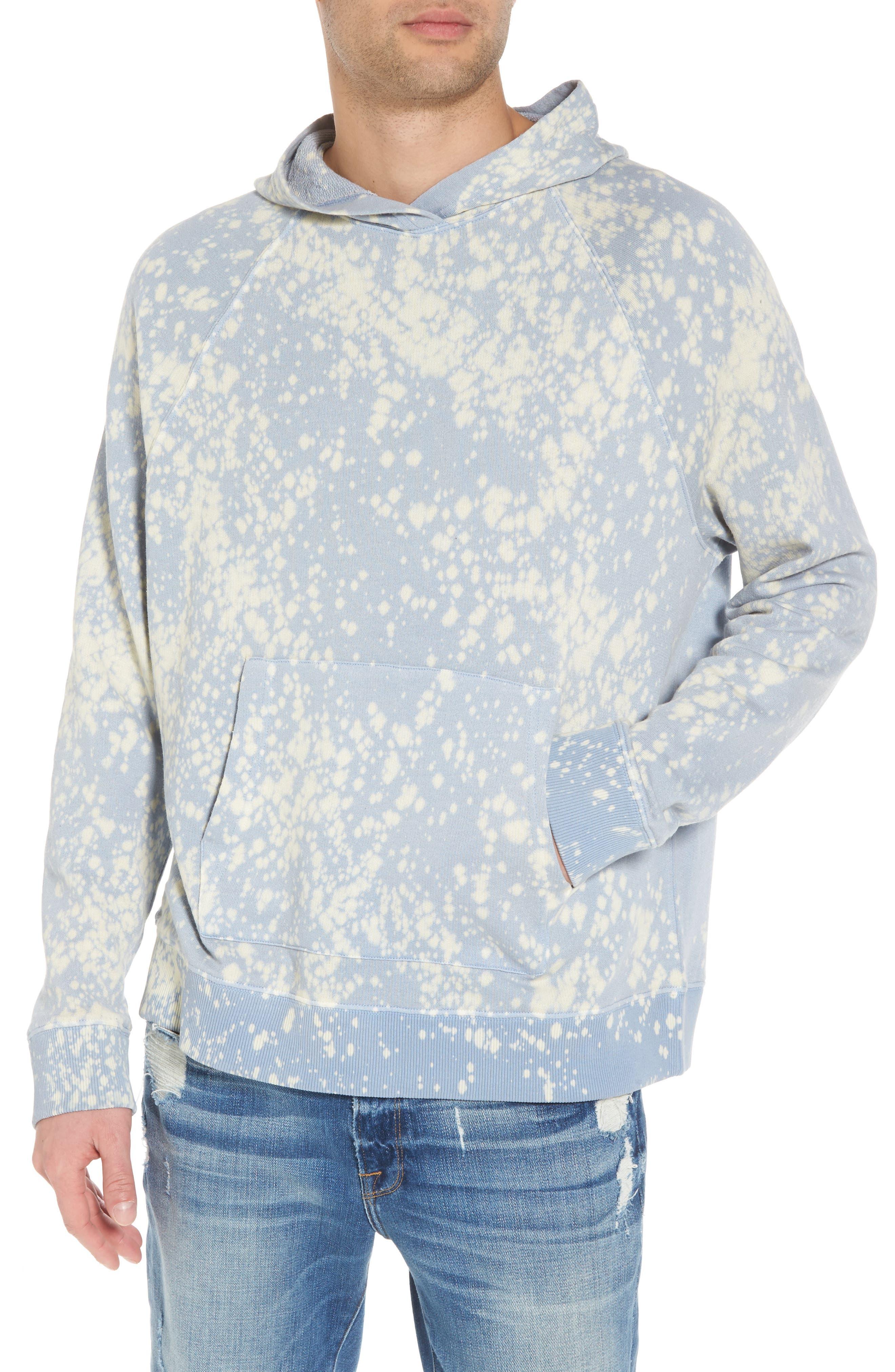 Bleached Hoodie Sweatshirt,                         Main,                         color, Blue White Bleach Splatter