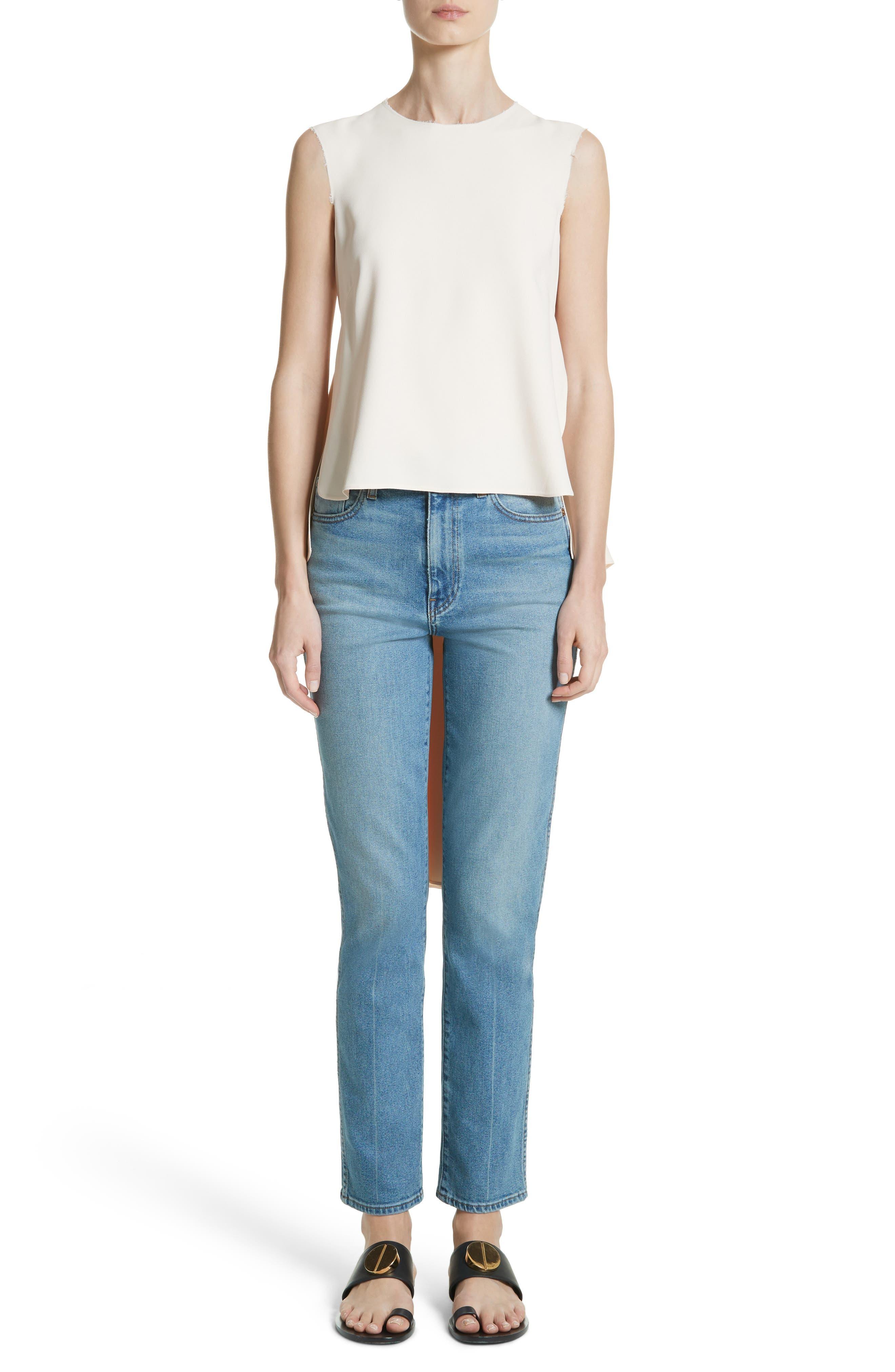 Victoria Straight Leg Jeans,                             Alternate thumbnail 9, color,                             Medium Crease