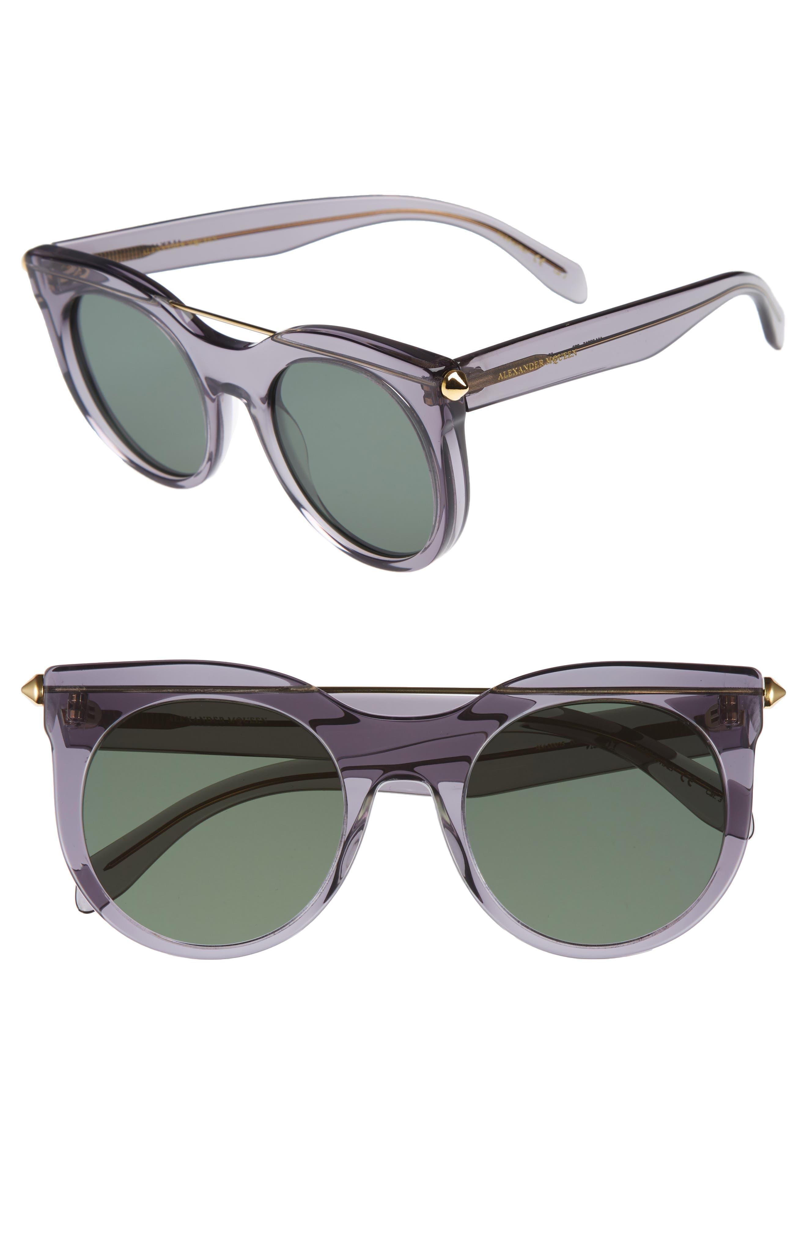 52mm Cat Eye Sunglasses,                             Main thumbnail 1, color,                             Grey