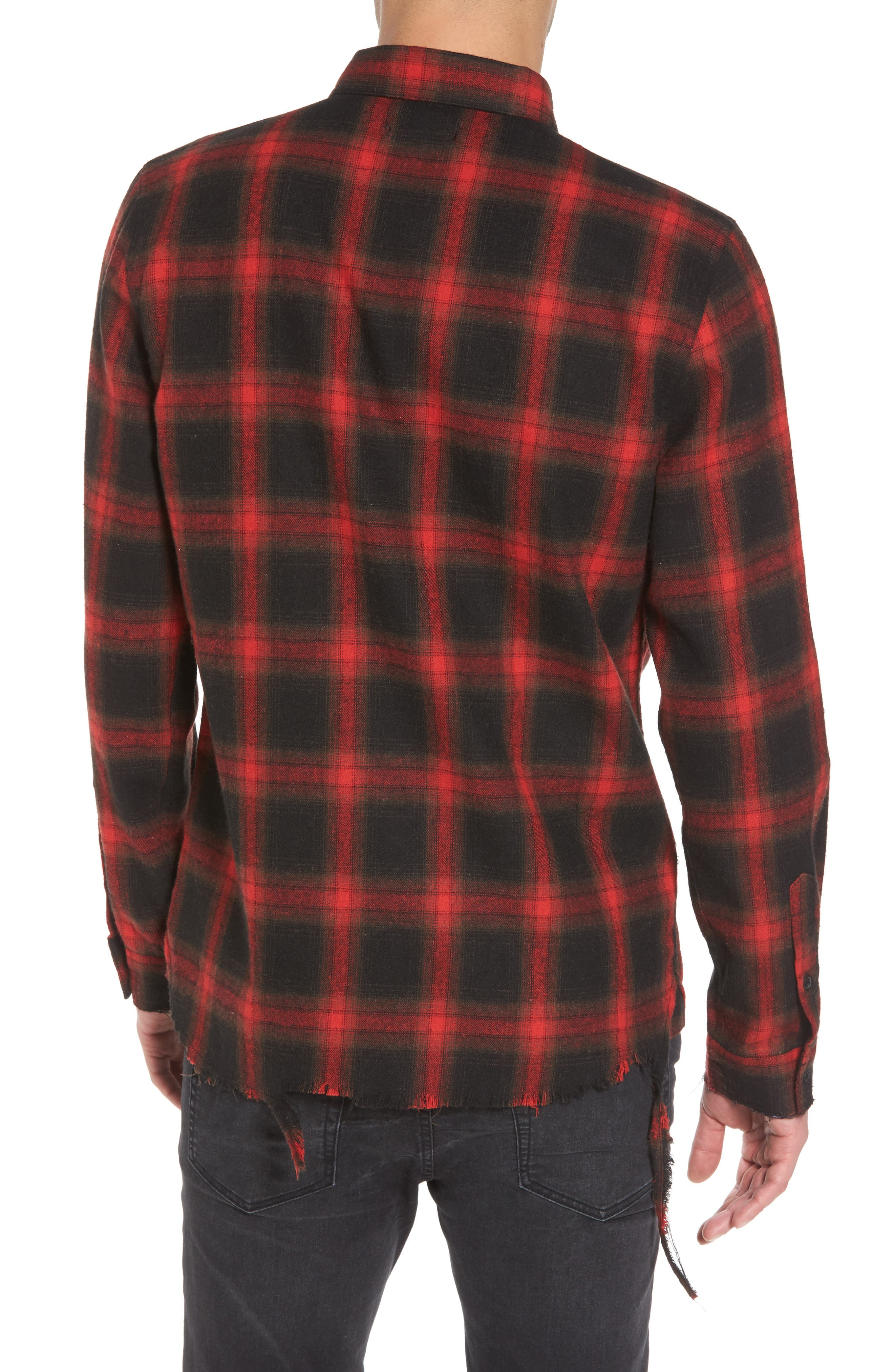 Shredded Plaid Flannel Shirt,                             Alternate thumbnail 2, color,                             Black Rock Red Ombre Check