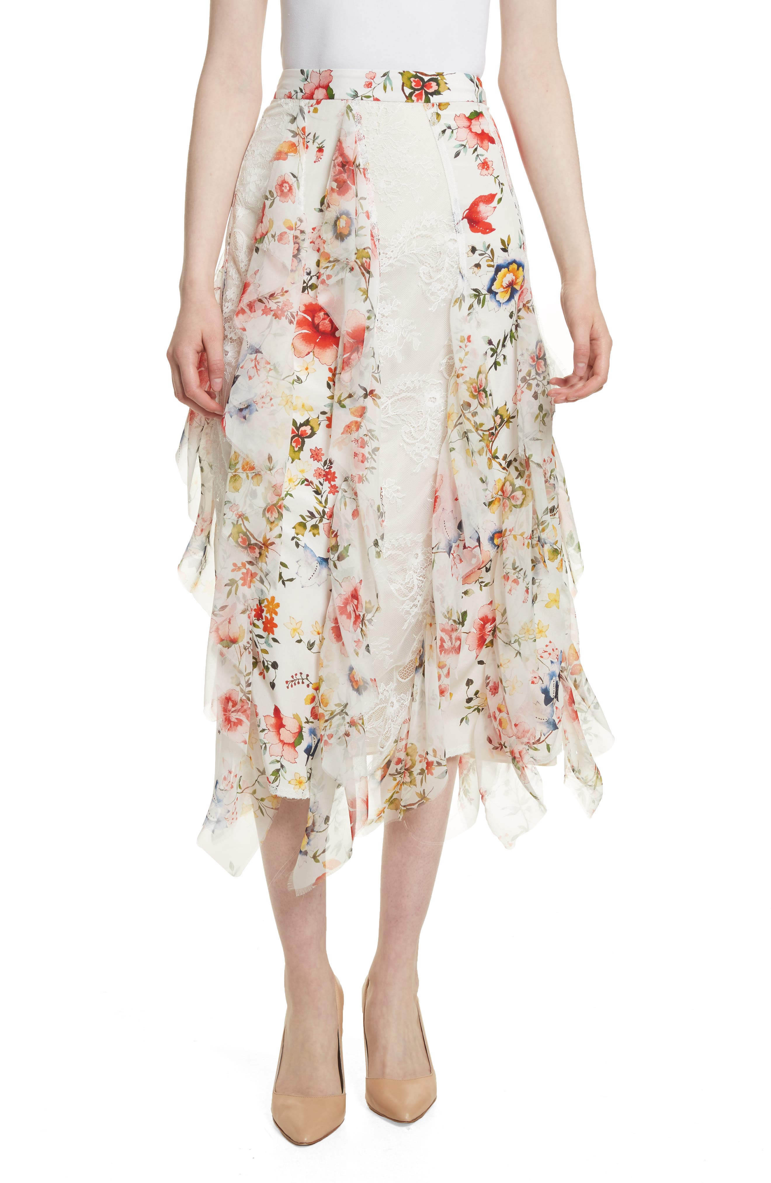 Yula Floral Silk & Lace Midi Skirt,                             Main thumbnail 1, color,                             Floral Soiree-Soft White