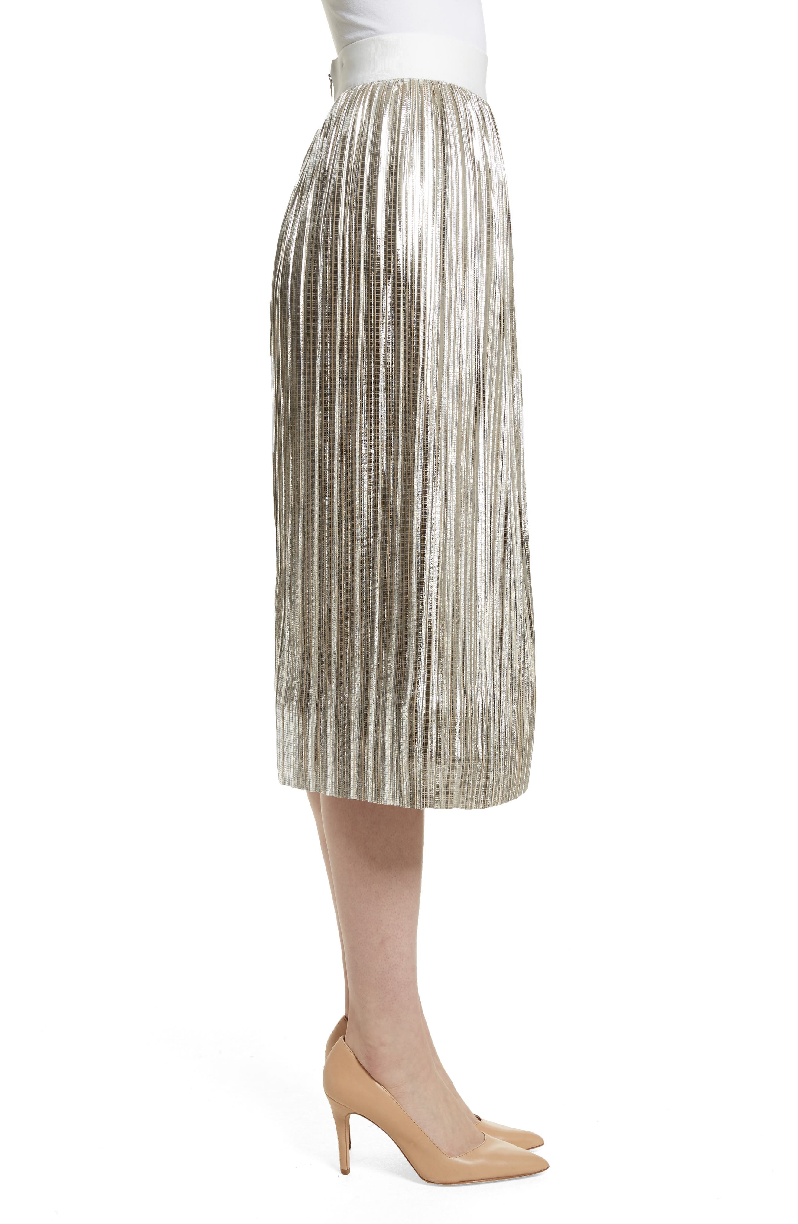 Mikaela Pleat Metallic Skirt,                             Alternate thumbnail 3, color,                             Silver Metallic