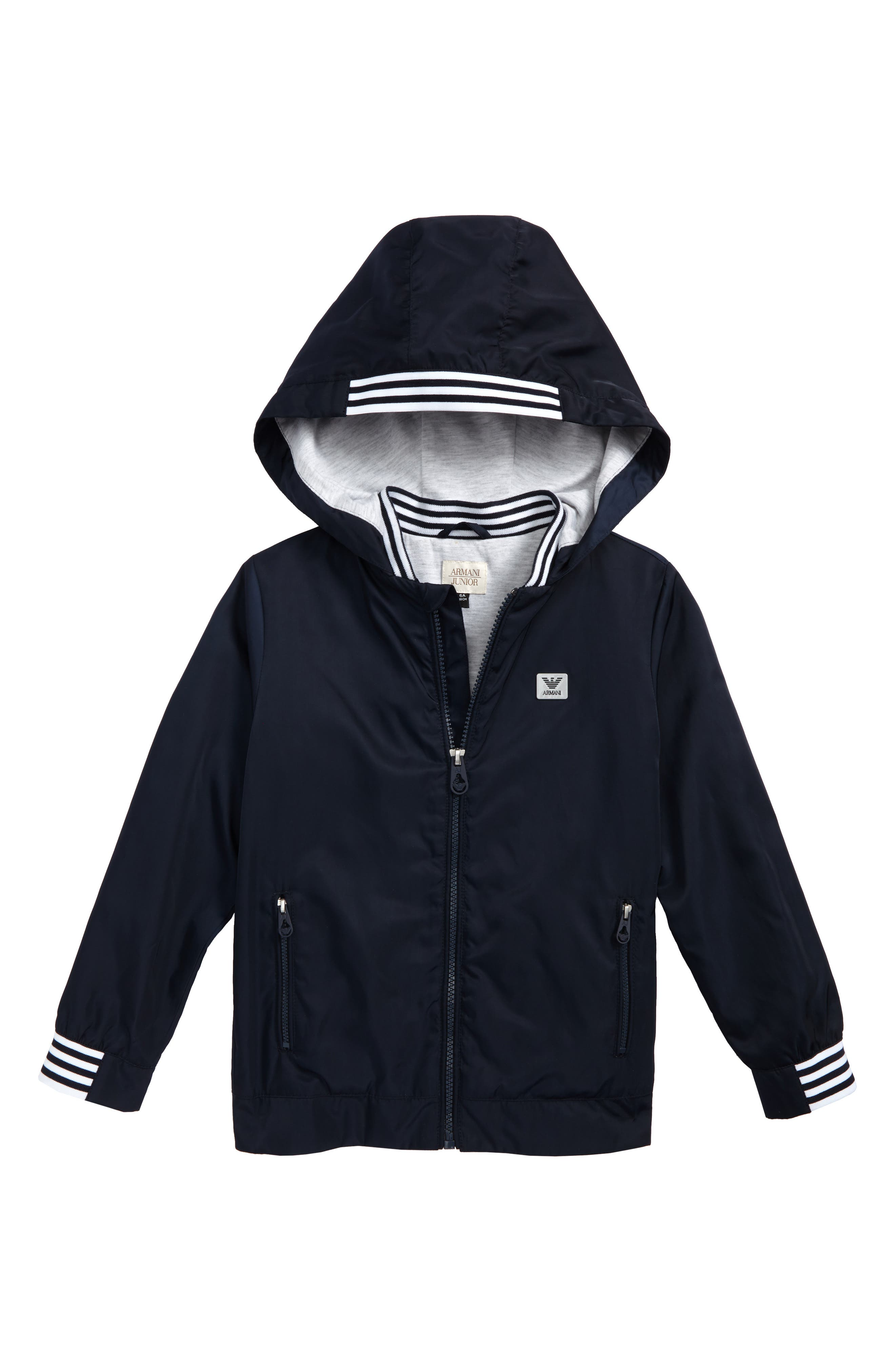 Alternate Image 1 Selected - Armani Junior Logo Hooded Jacket (Little Boys & Big Boys)