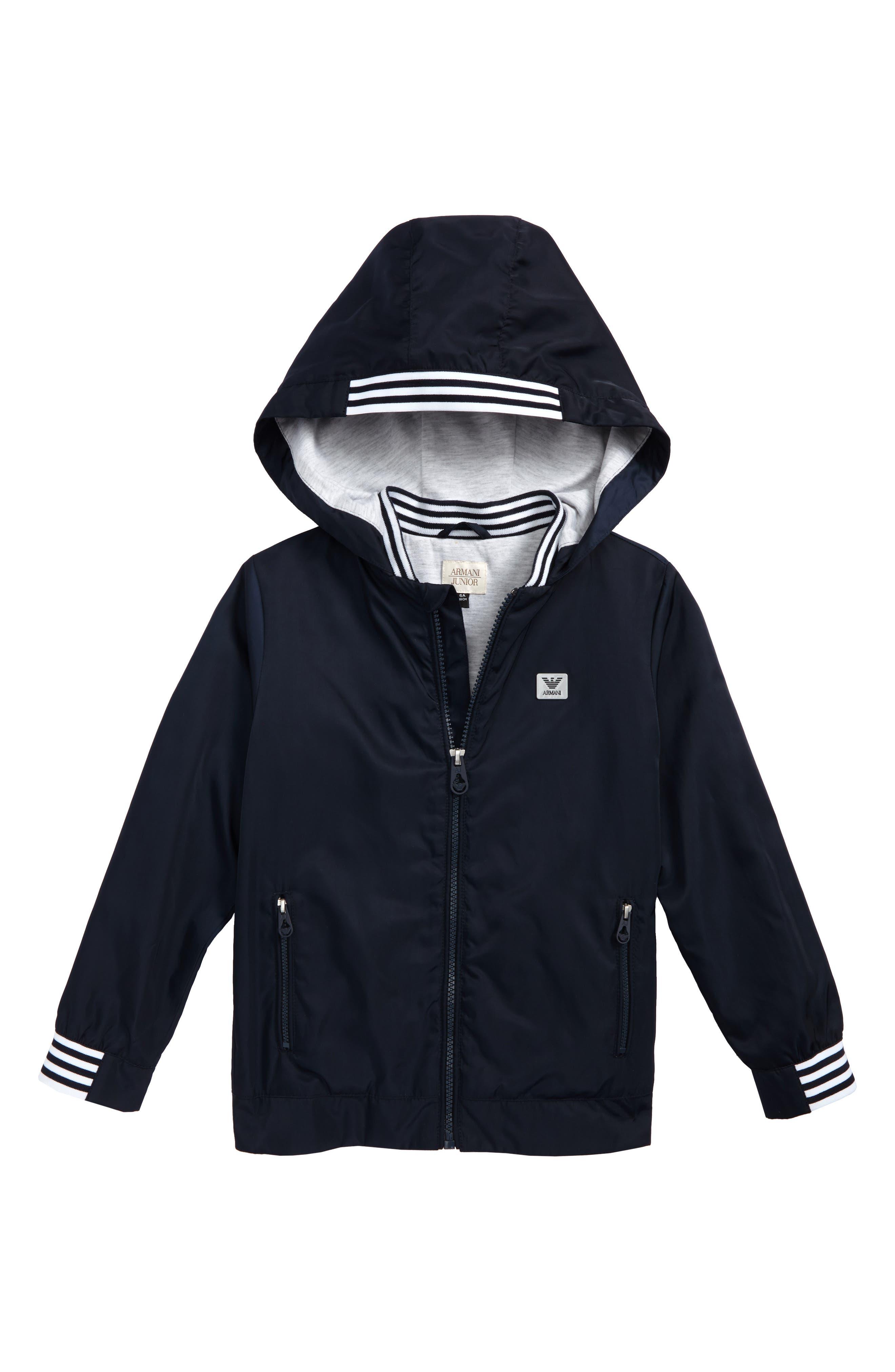 Logo Hooded Jacket,                         Main,                         color, Navy
