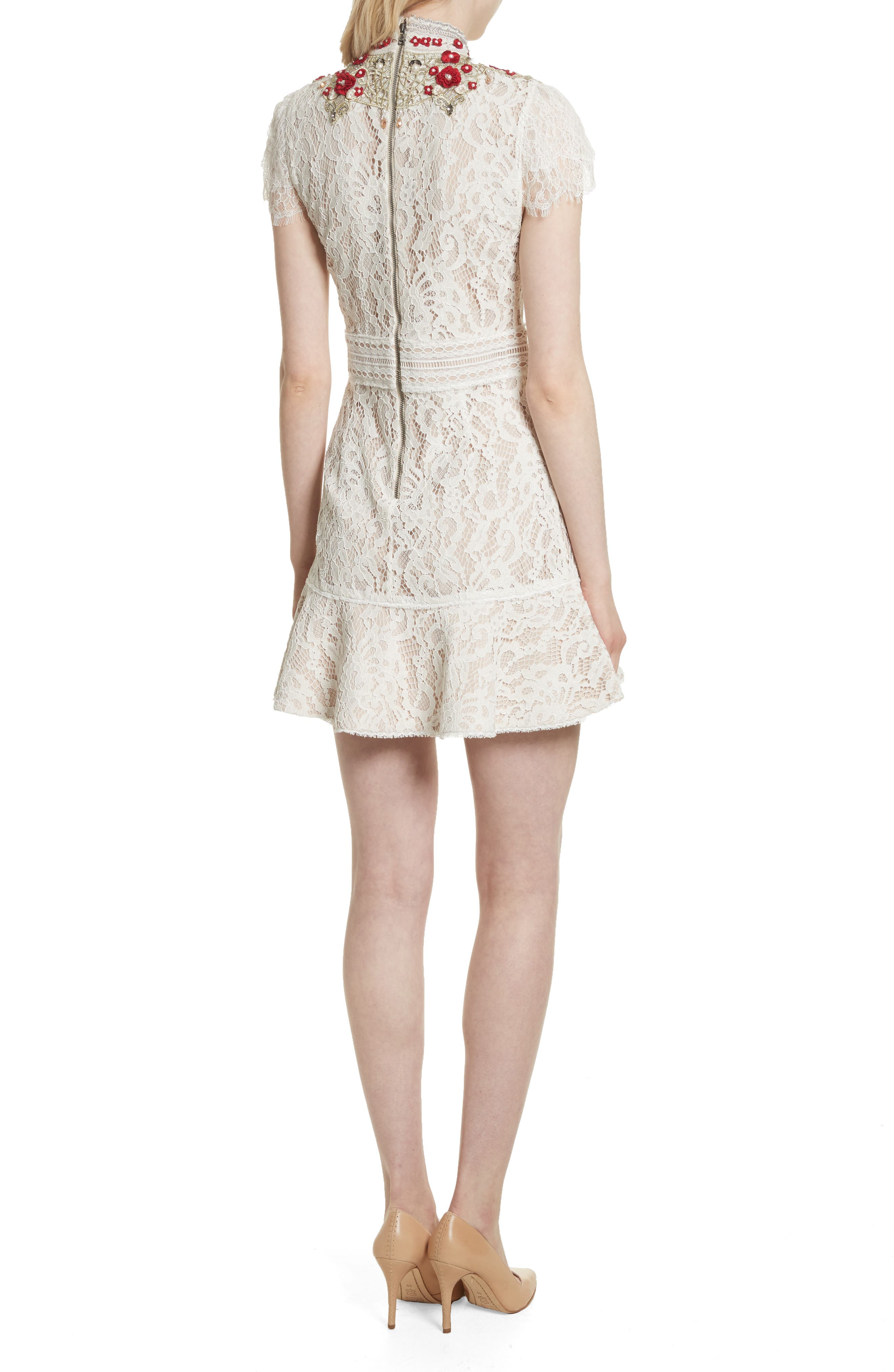 Francine Lace Fit & Flare Minidress,                             Alternate thumbnail 2, color,                             Cream/ Perfect Poppy
