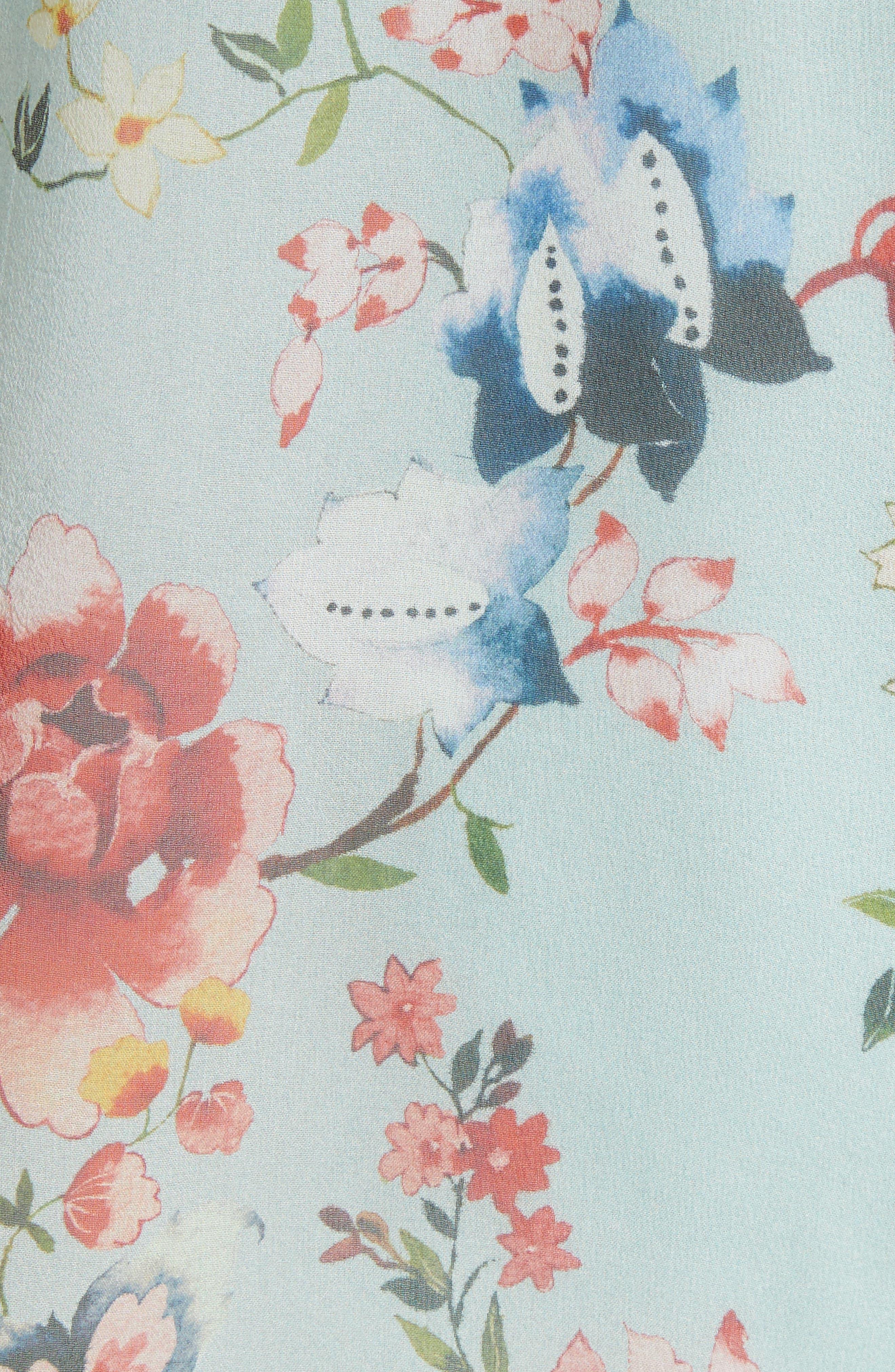 Blayne Cold Shoulder Floral Silk Blouse,                             Alternate thumbnail 6, color,                             Floral Soiree-Dusty Aqua
