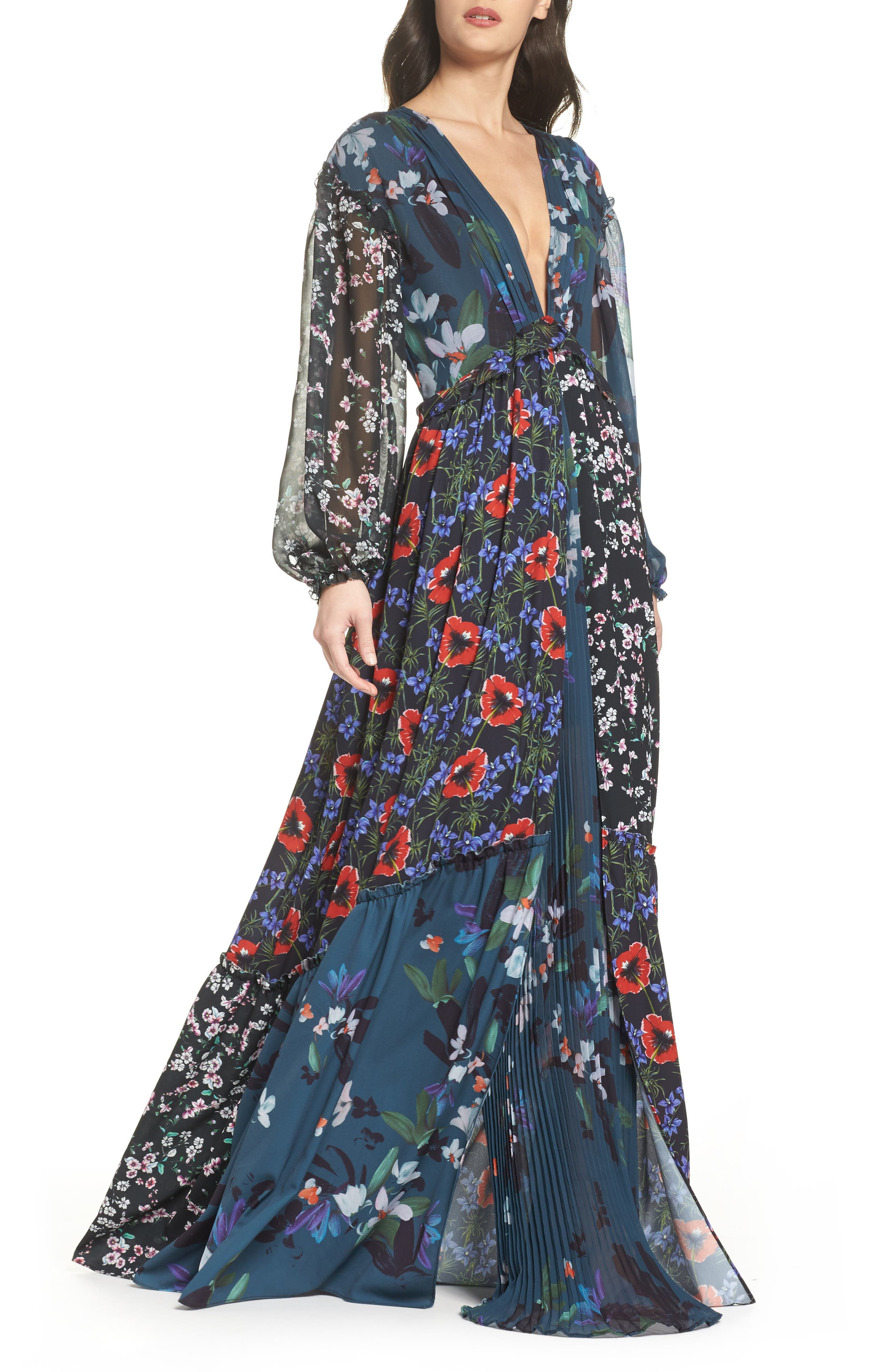 Celia Mix Floral Maxi Dress,                         Main,                         color, Deep Teal Multi