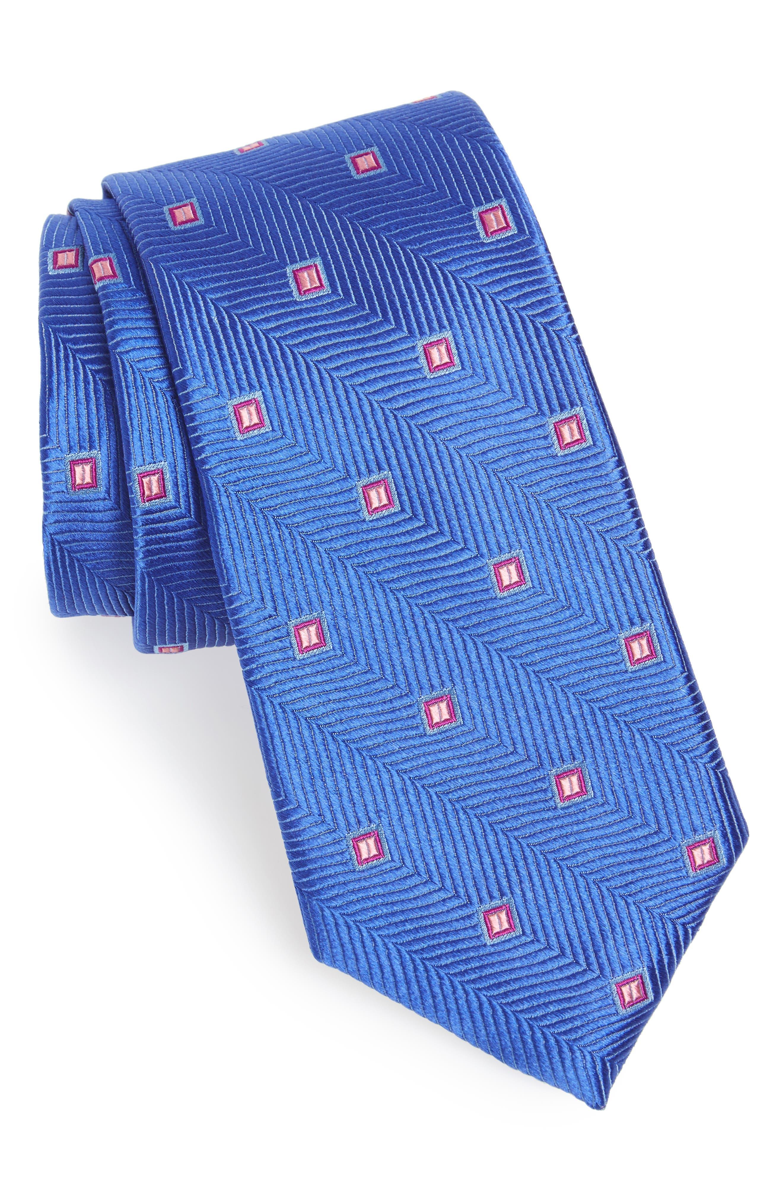 Blake Squares Geometric Silk Tie,                             Main thumbnail 1, color,                             Kentucky Blue