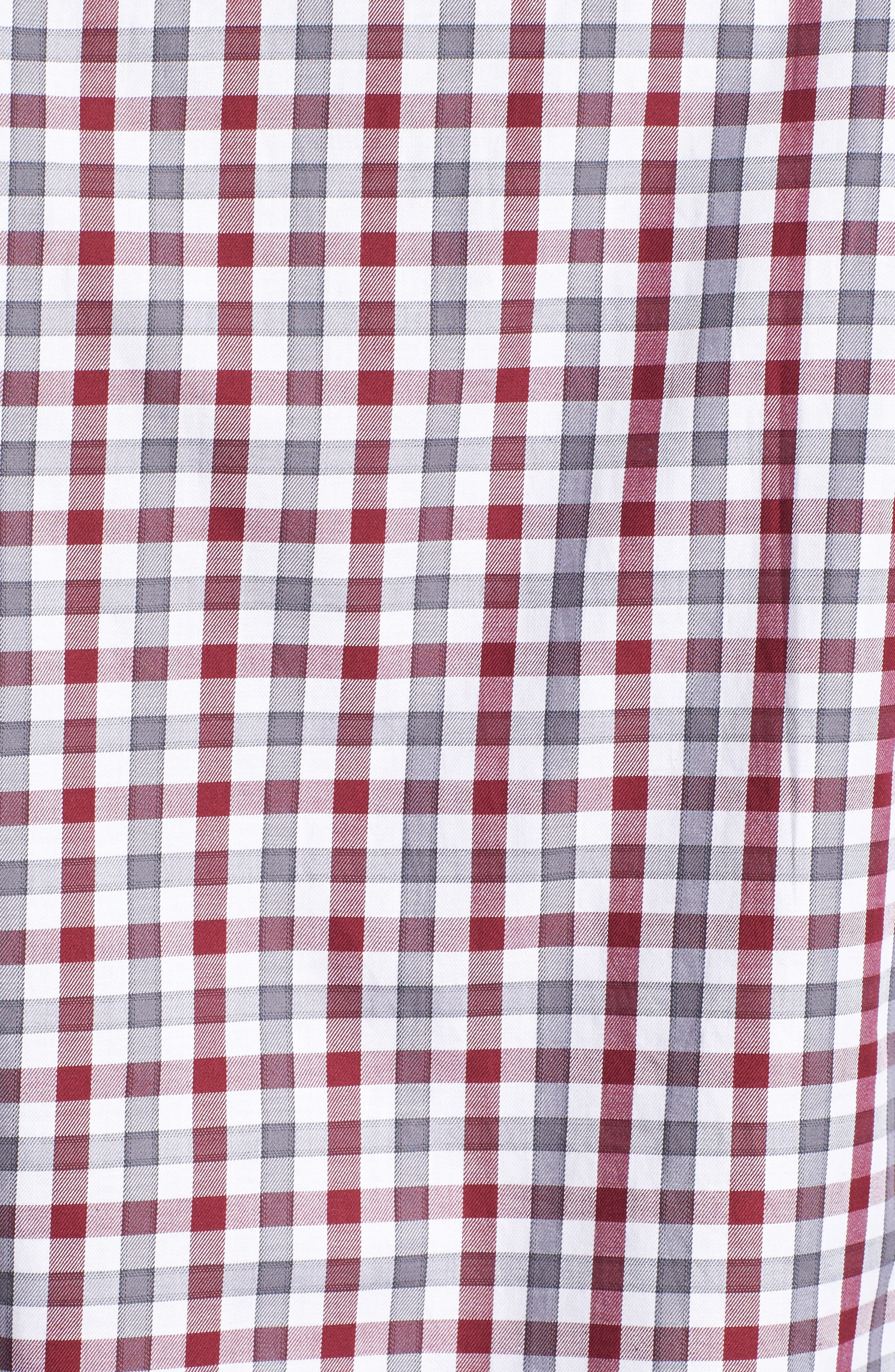 Fitted Check Sport Shirt,                             Alternate thumbnail 5, color,                             Dark Red