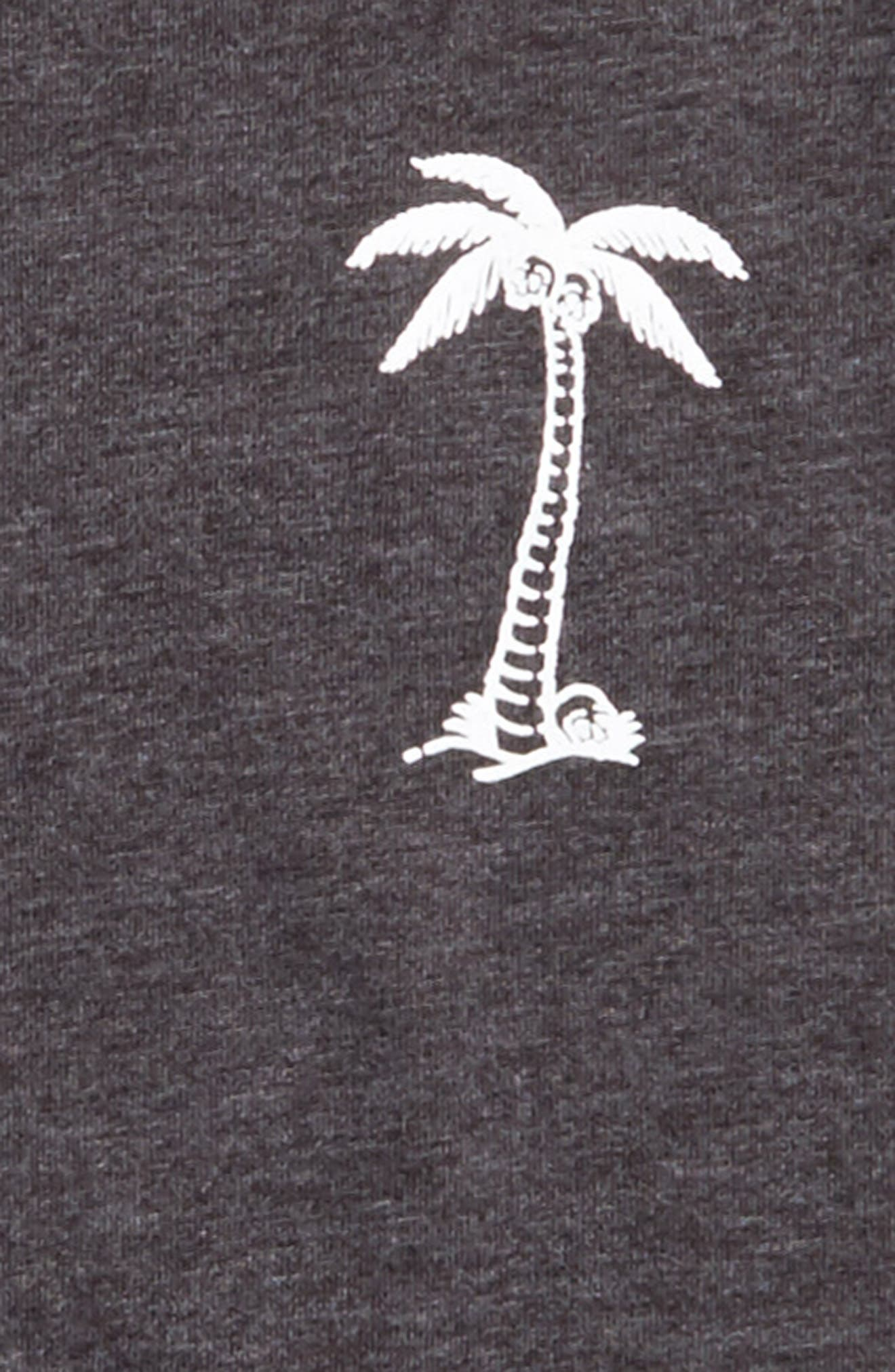 BBTV Palm Tree Graphic T-Shirt,                             Alternate thumbnail 3, color,                             Black Heather