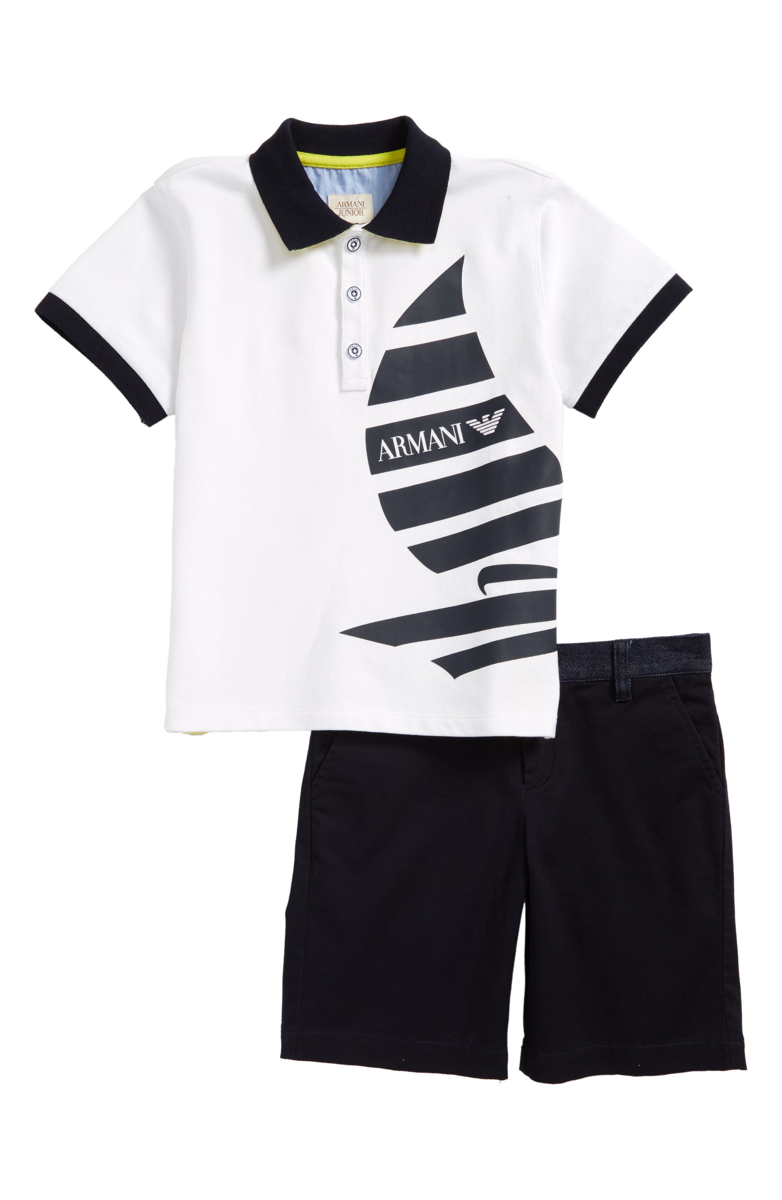 Polo & Twill Shorts Set,                             Main thumbnail 1, color,                             White