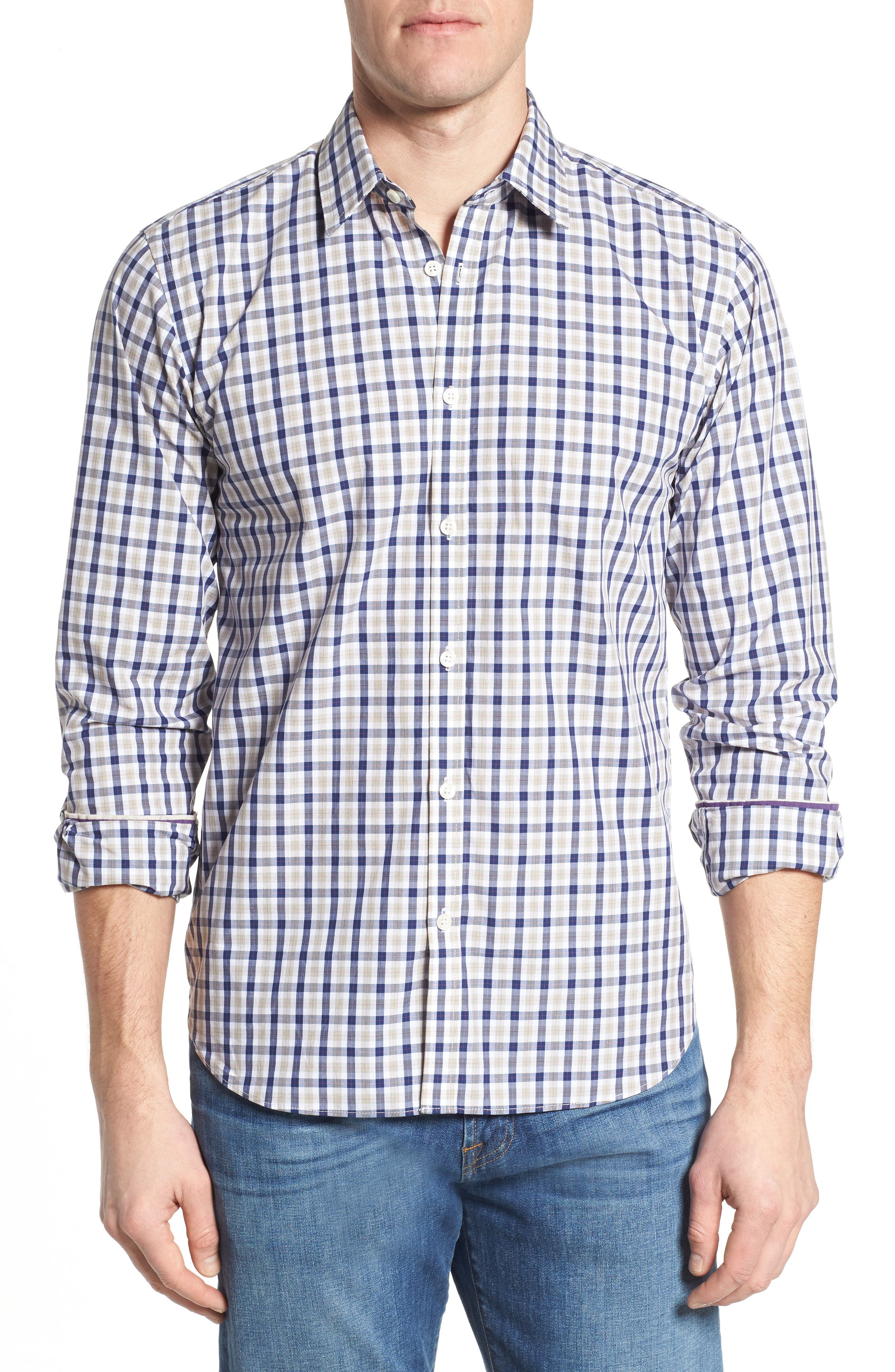 Fitted Plaid Sport Shirt,                         Main,                         color, Dark Blue