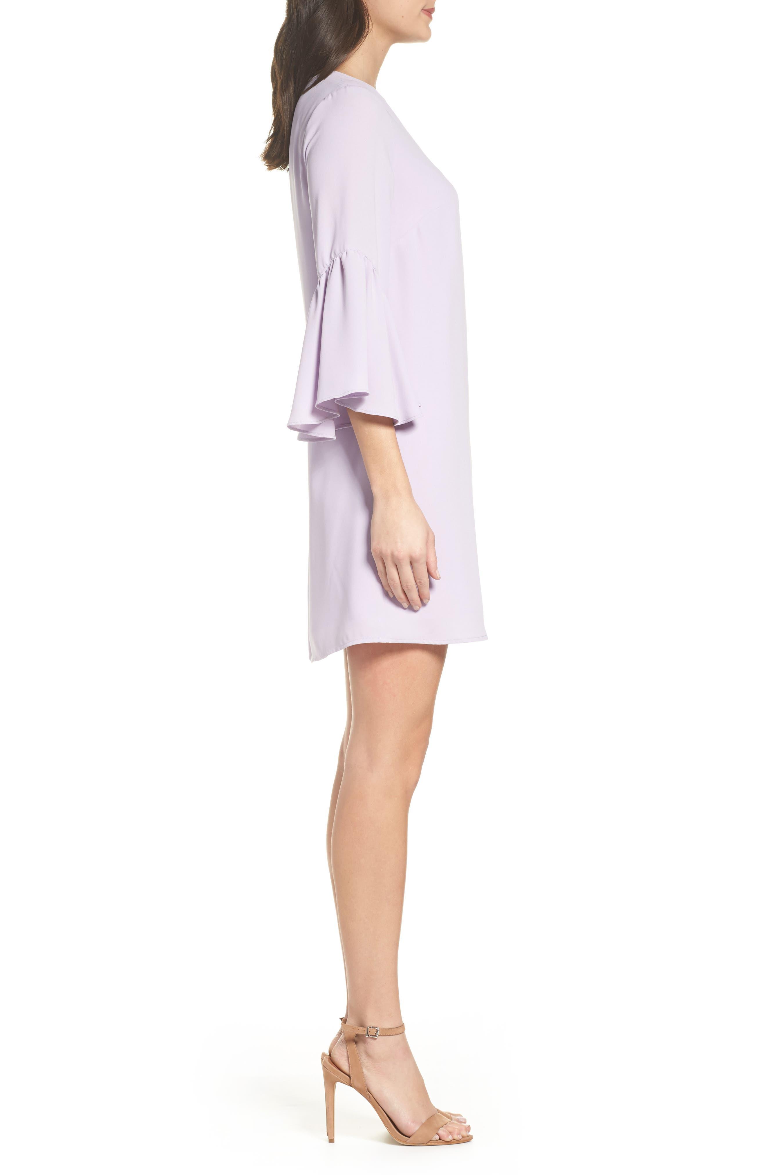 Bell Sleeve Shift Dress,                             Alternate thumbnail 3, color,                             Purple Petal