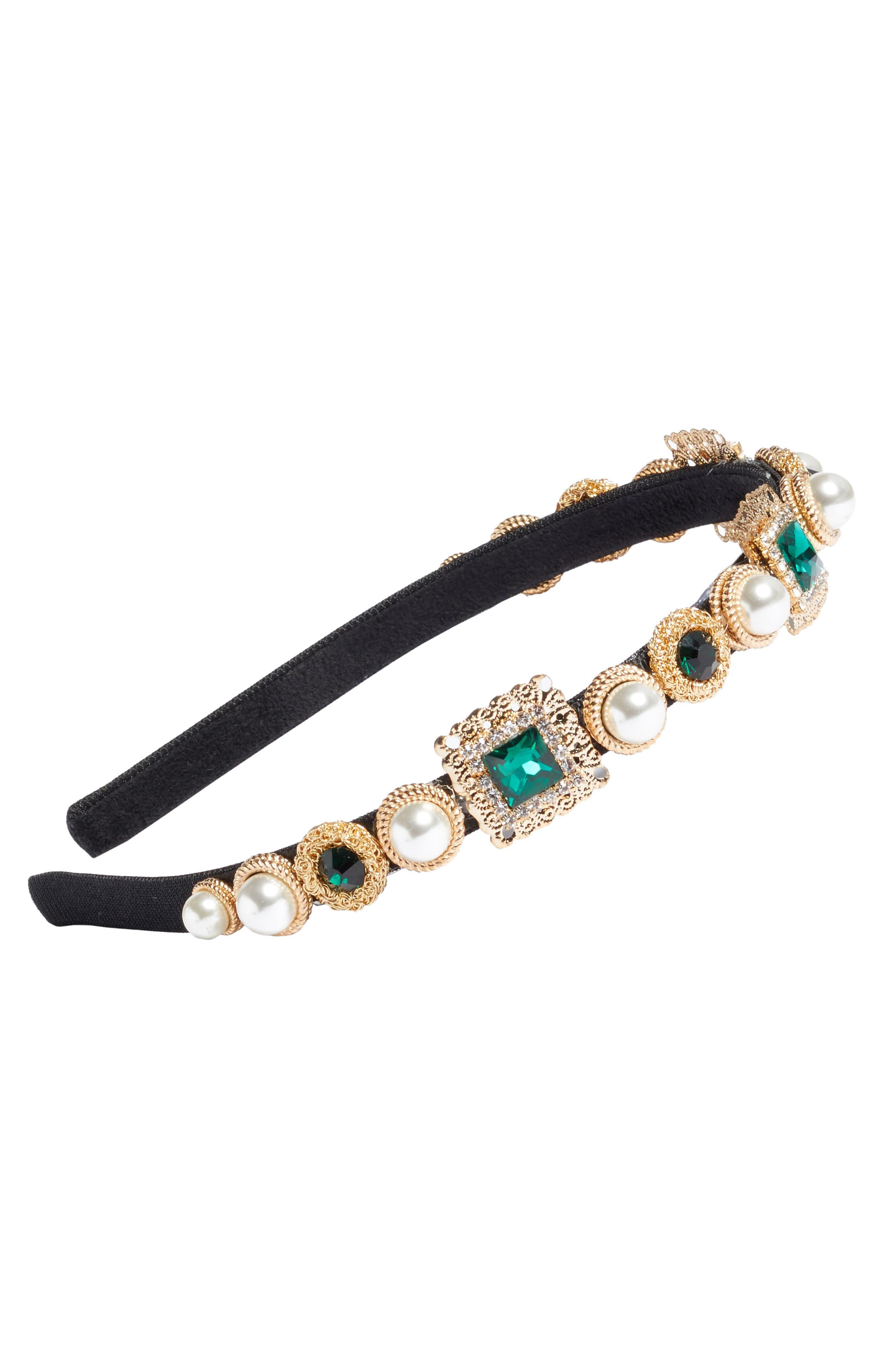 Imitation Pearl & Crystal Headband,                         Main,                         color, Gold Multi