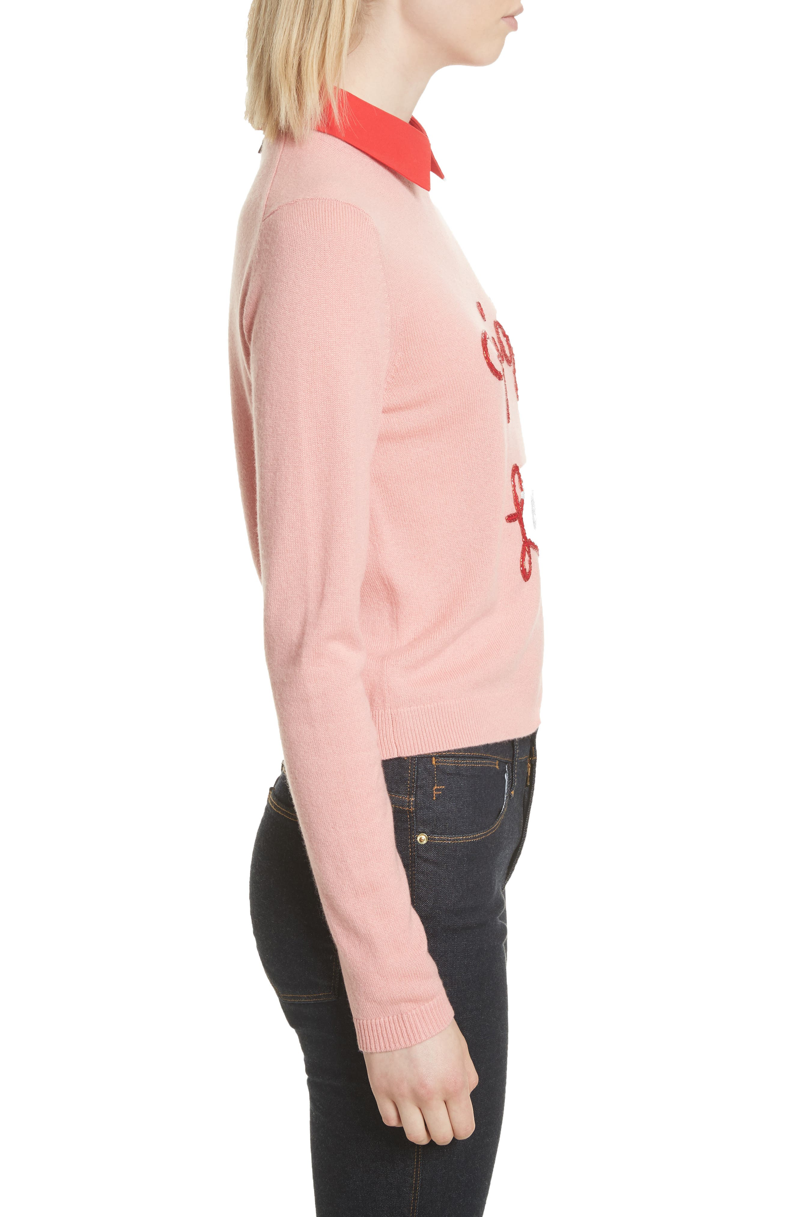 Big Love Embroidered Cashmere Sweater,                             Alternate thumbnail 3, color,                             Millennial Pink/ Apple