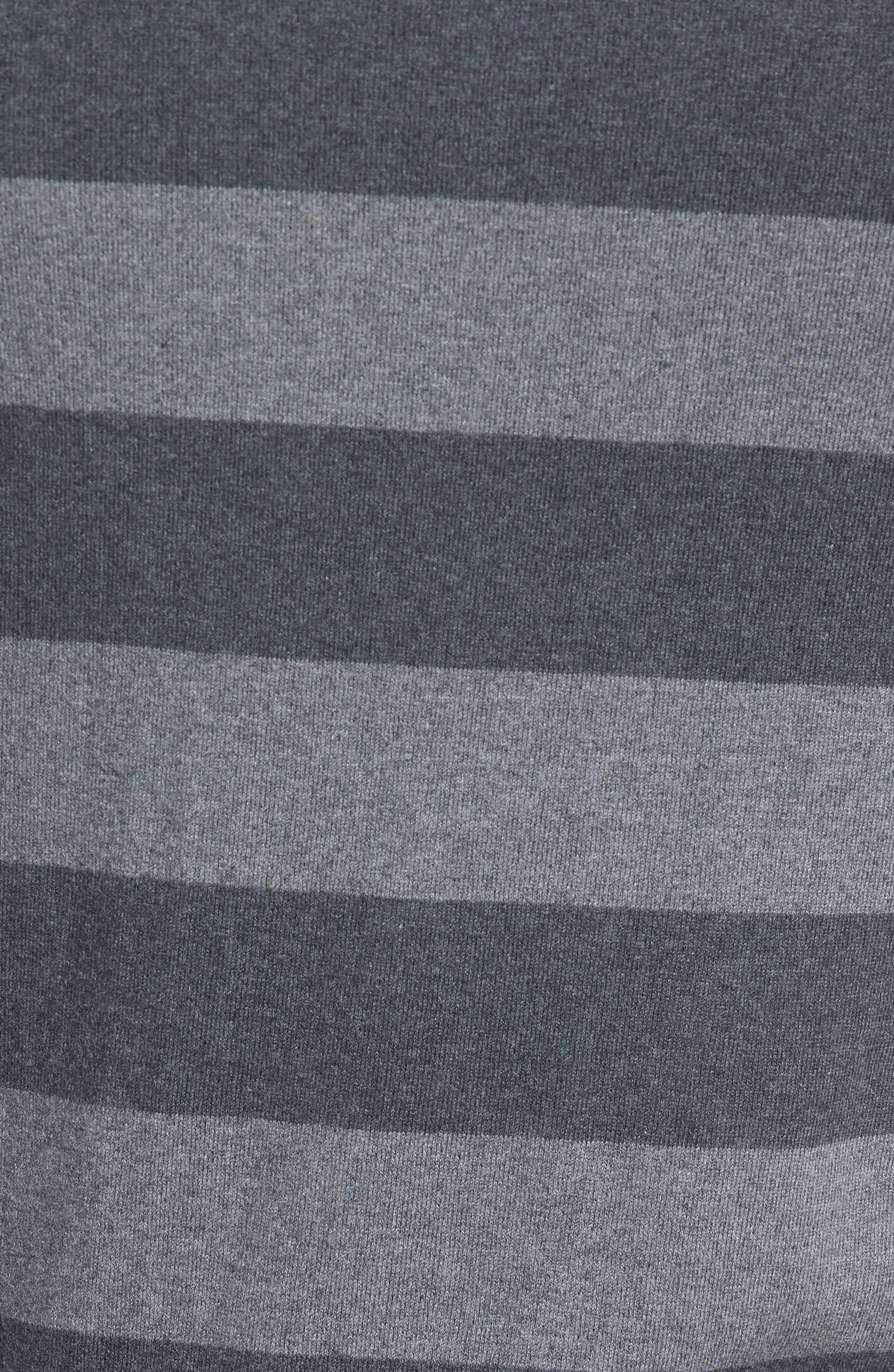 Stripe Stretch Cotton Sweater,                             Alternate thumbnail 5, color,                             Mid Grey/ Charcoal Melange
