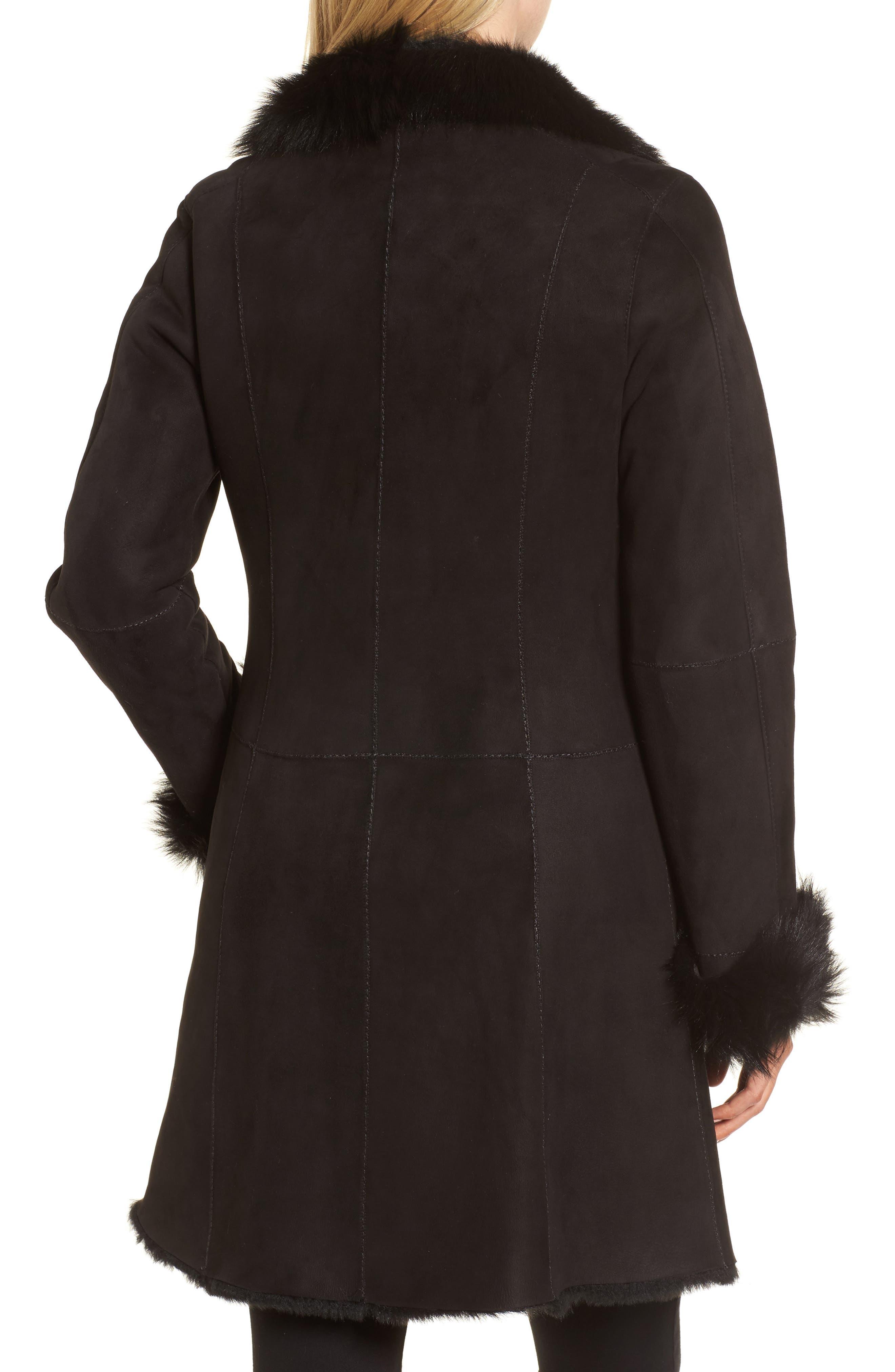 Genuine Shearling Coat,                             Alternate thumbnail 2, color,                             Black Brisa