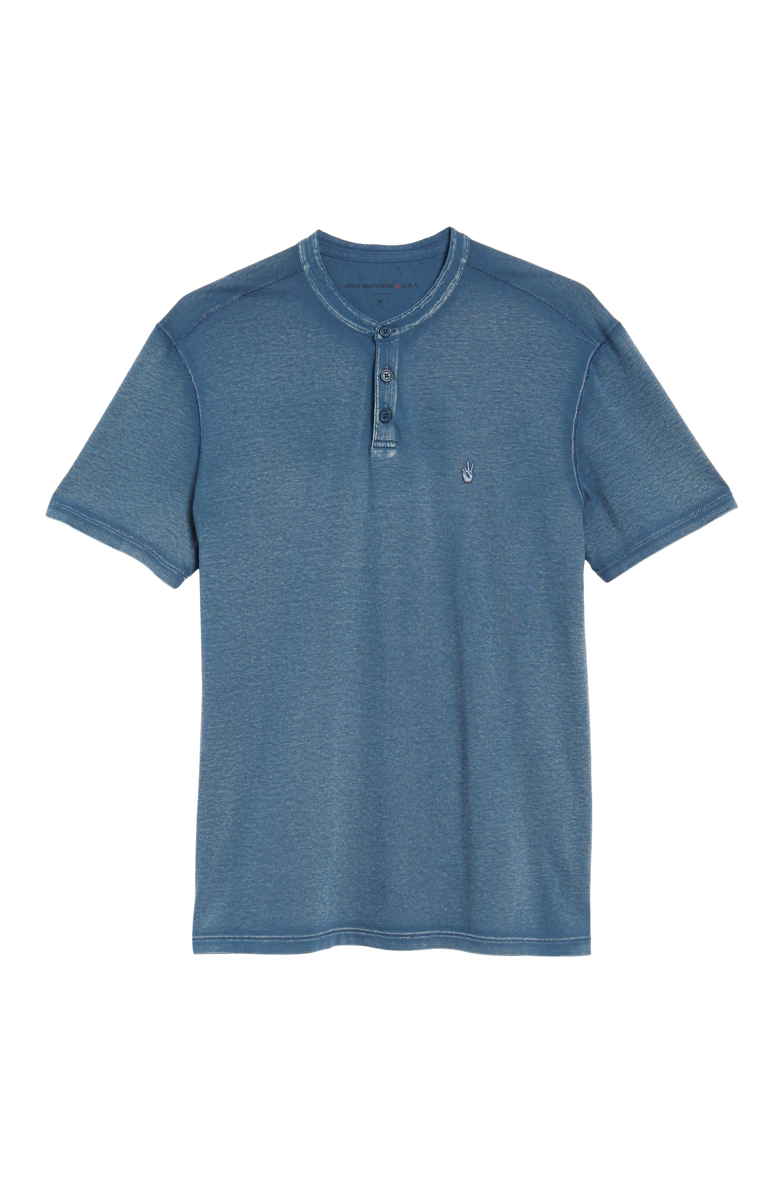 Regular Fit Cotton Henley,                             Alternate thumbnail 6, color,                             Stream Blue