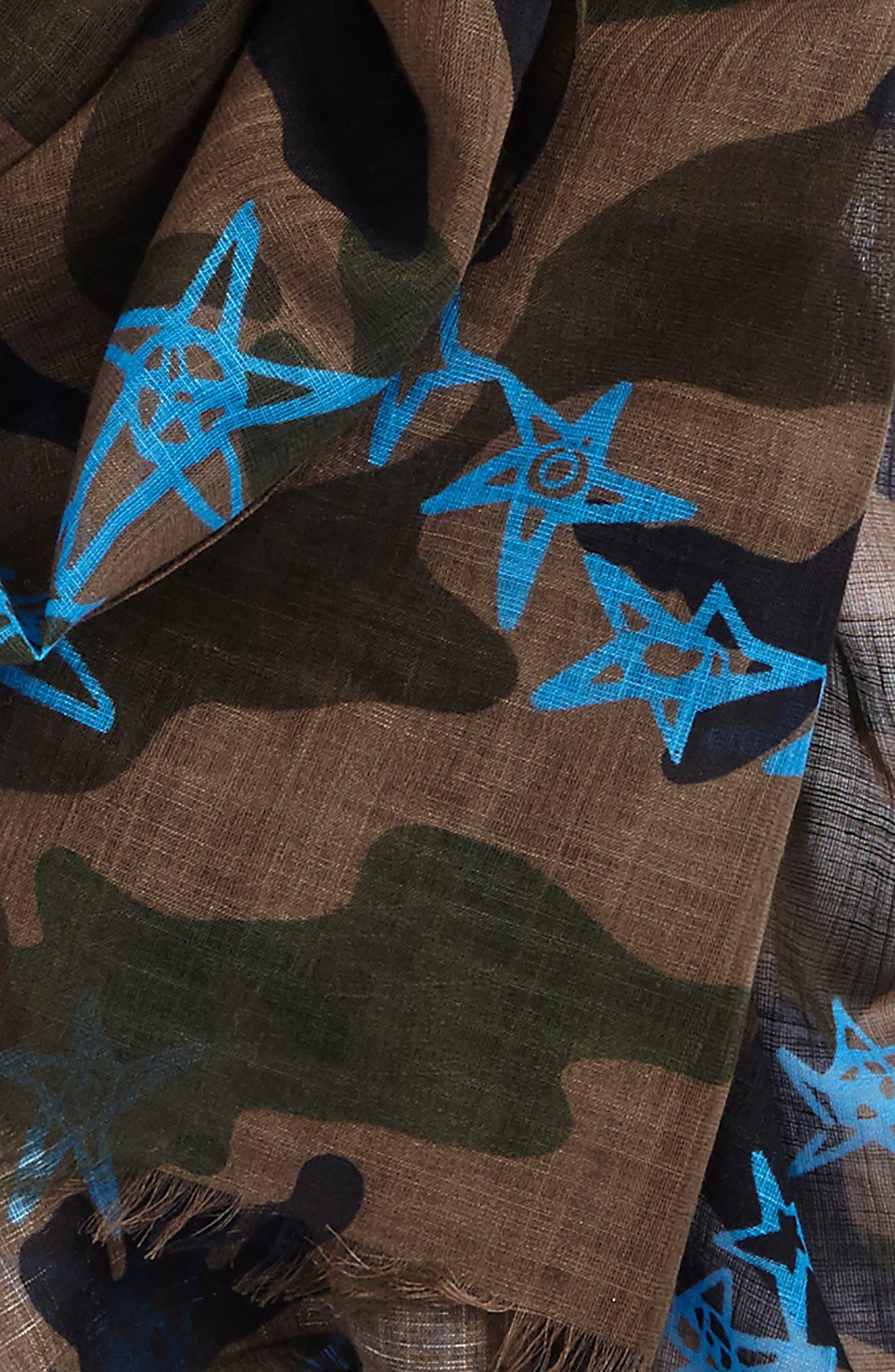 Camo Stars Cotton & Linen Scarf,                             Alternate thumbnail 3, color,                             Army