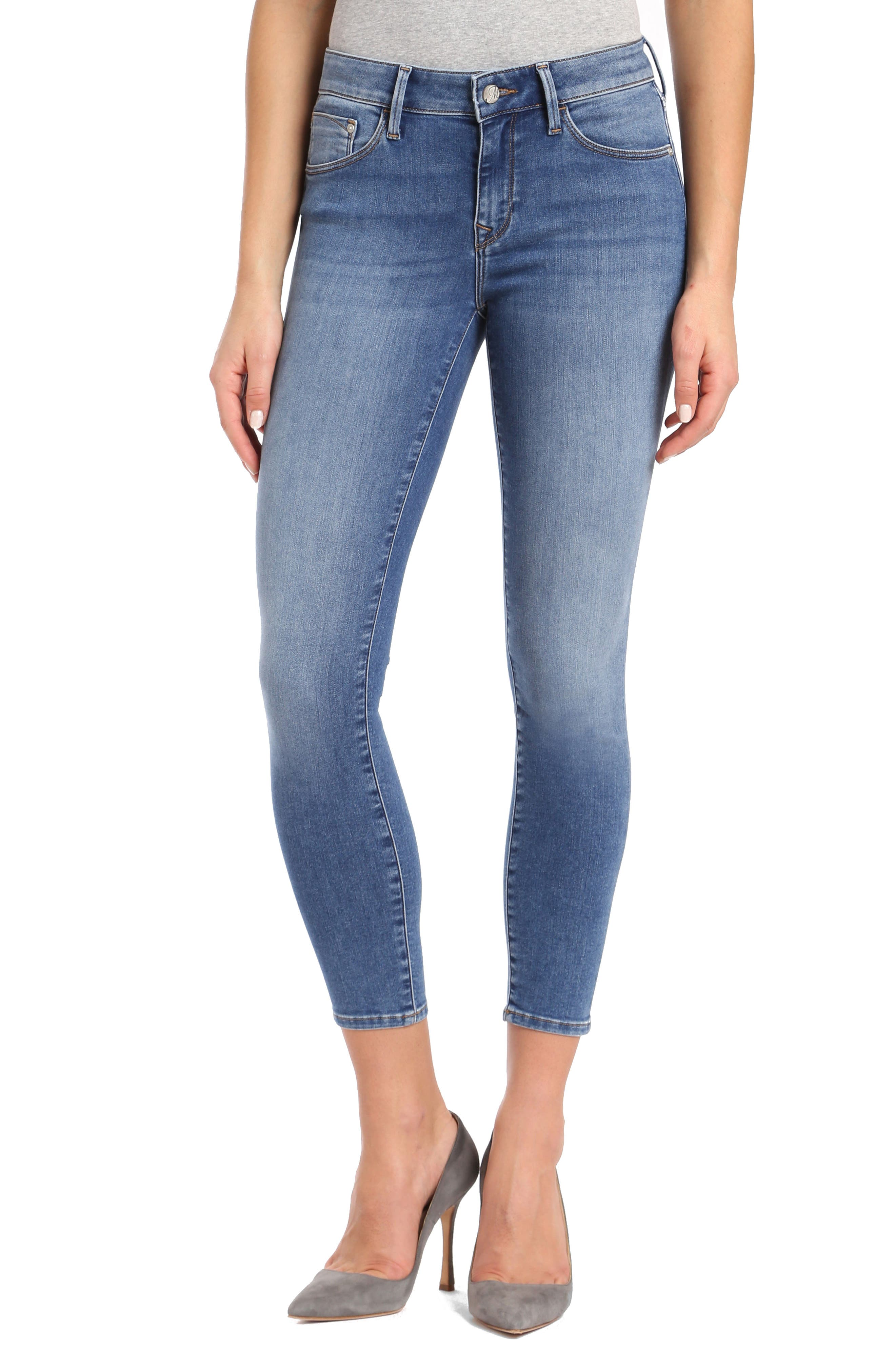 Gold Adriana Stretch Super Skinny Ankle Jeans,                         Main,                         color, Mid Super Soft