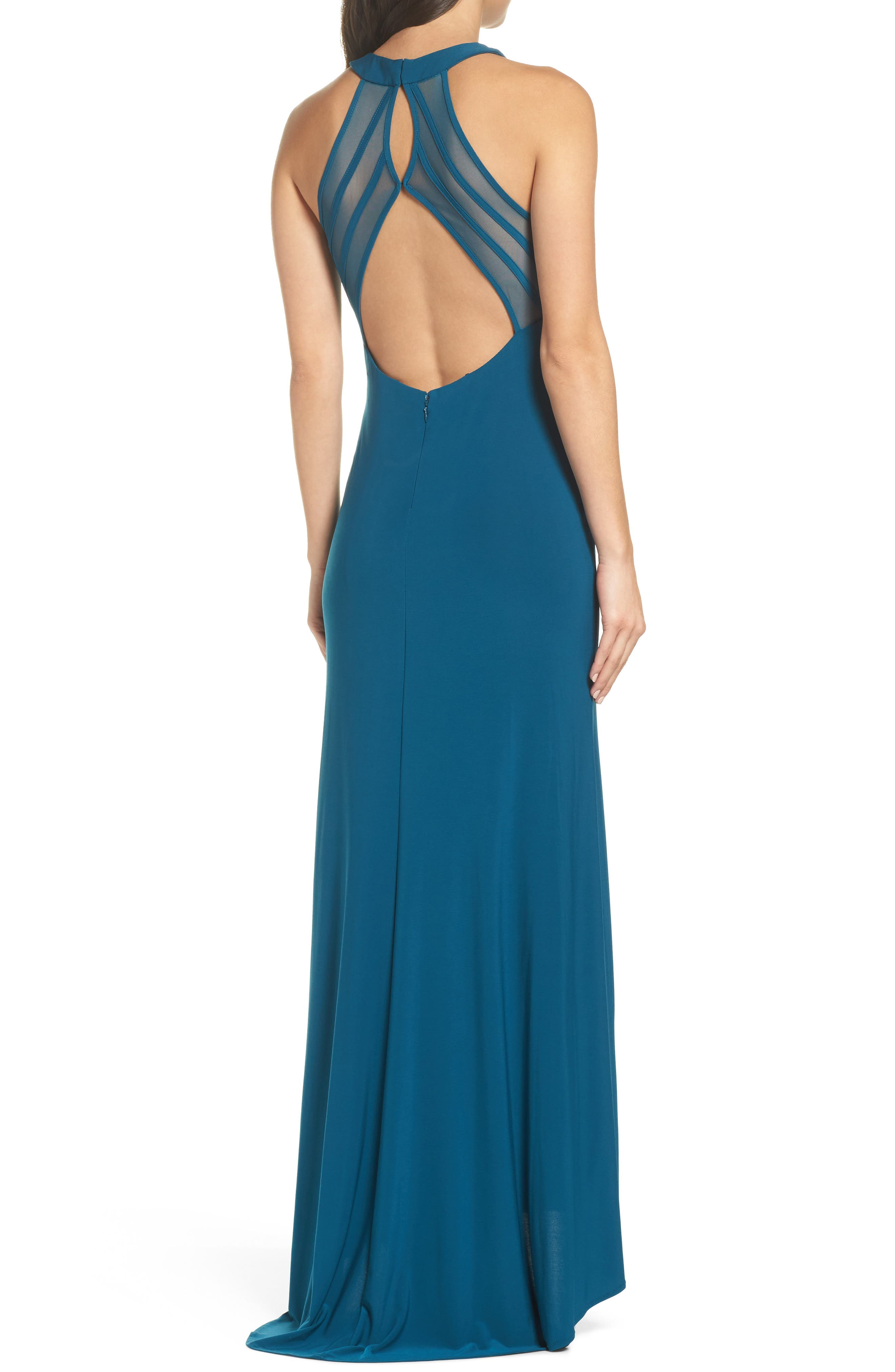 Mesh Inset Halter Gown,                             Alternate thumbnail 2, color,                             Spruce