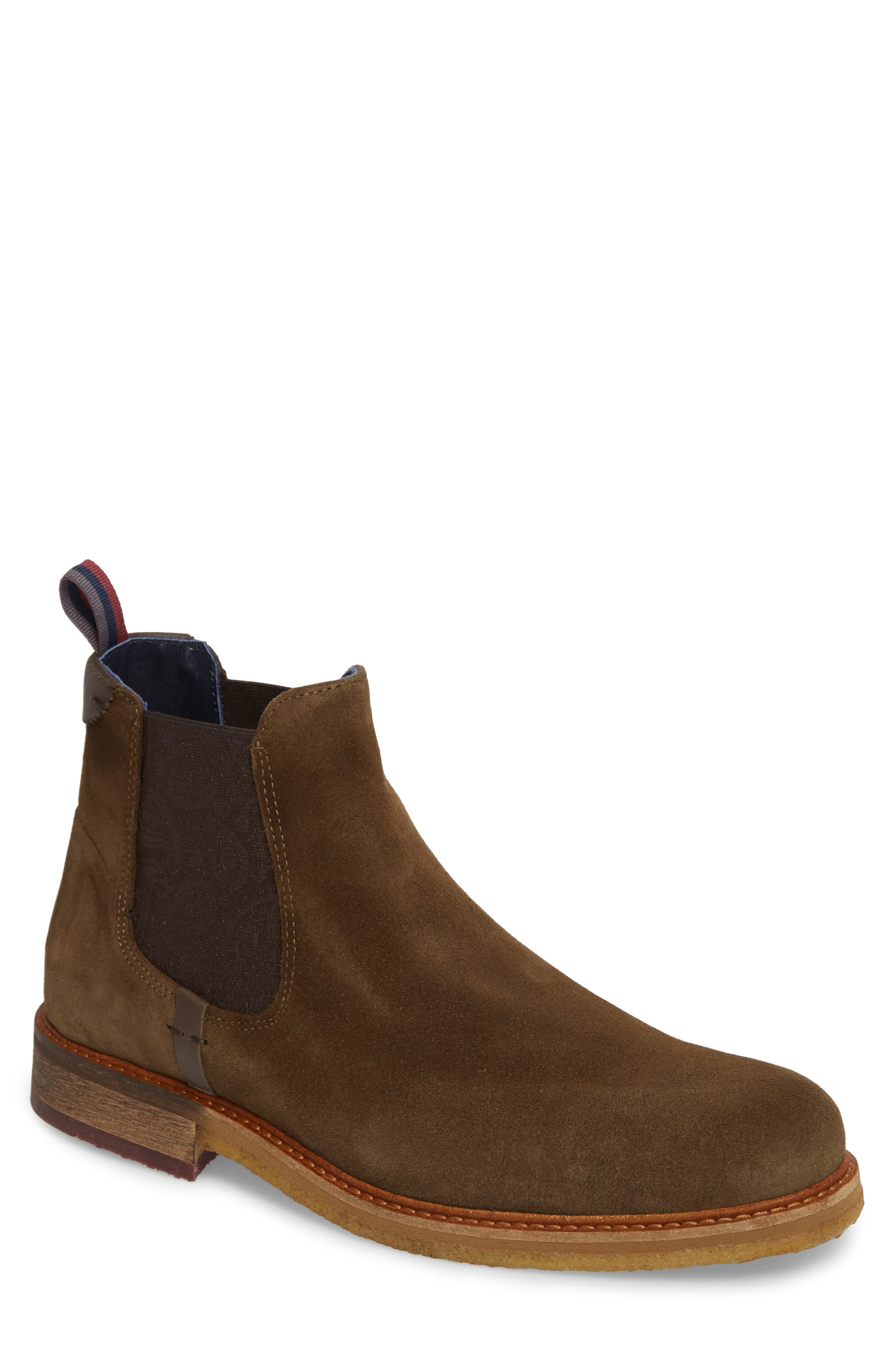 Bronzo Chelsea Boot,                             Main thumbnail 1, color,                             Dark Green Suede