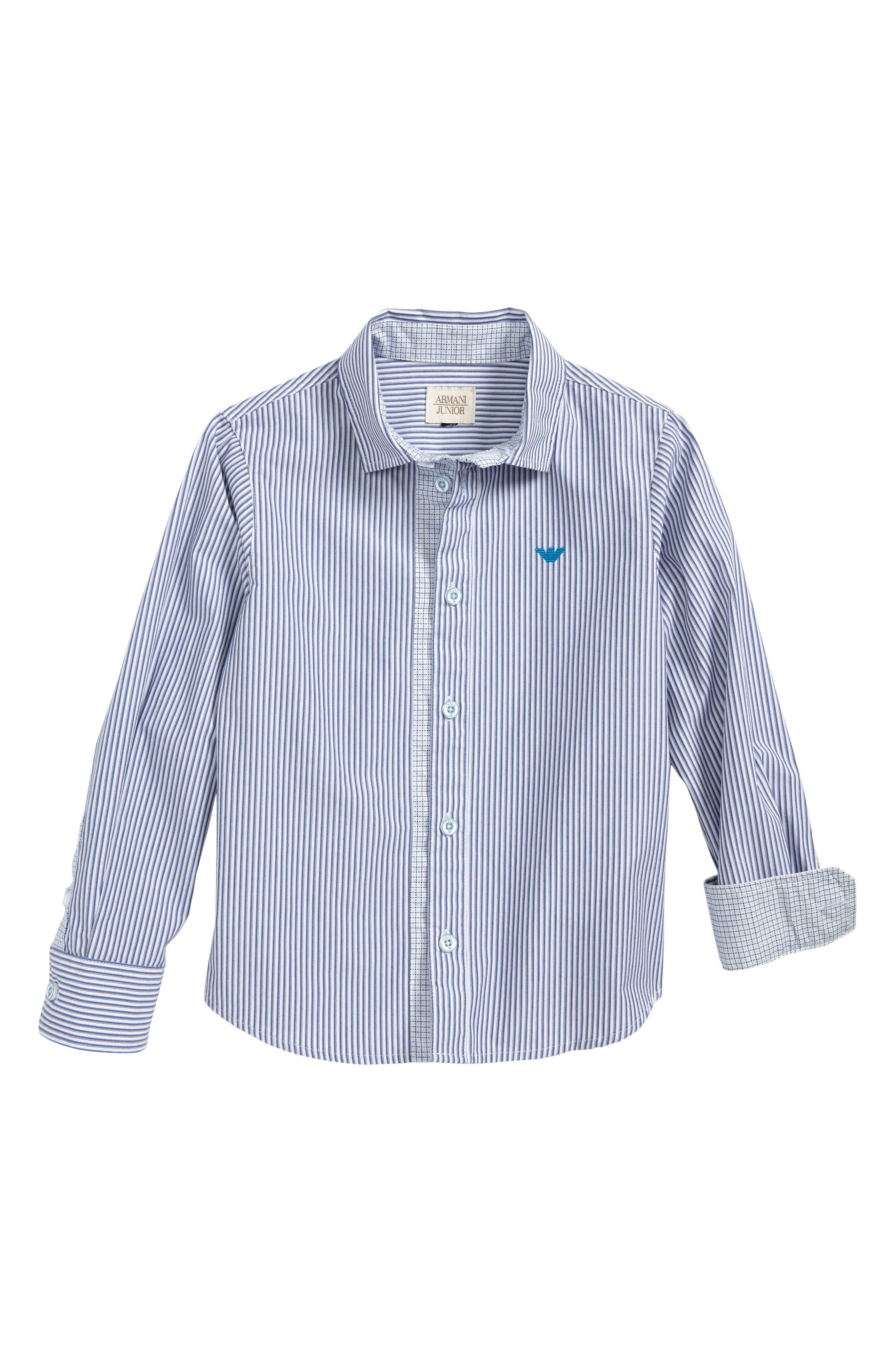 Stripe Woven Shirt,                         Main,                         color, Blue