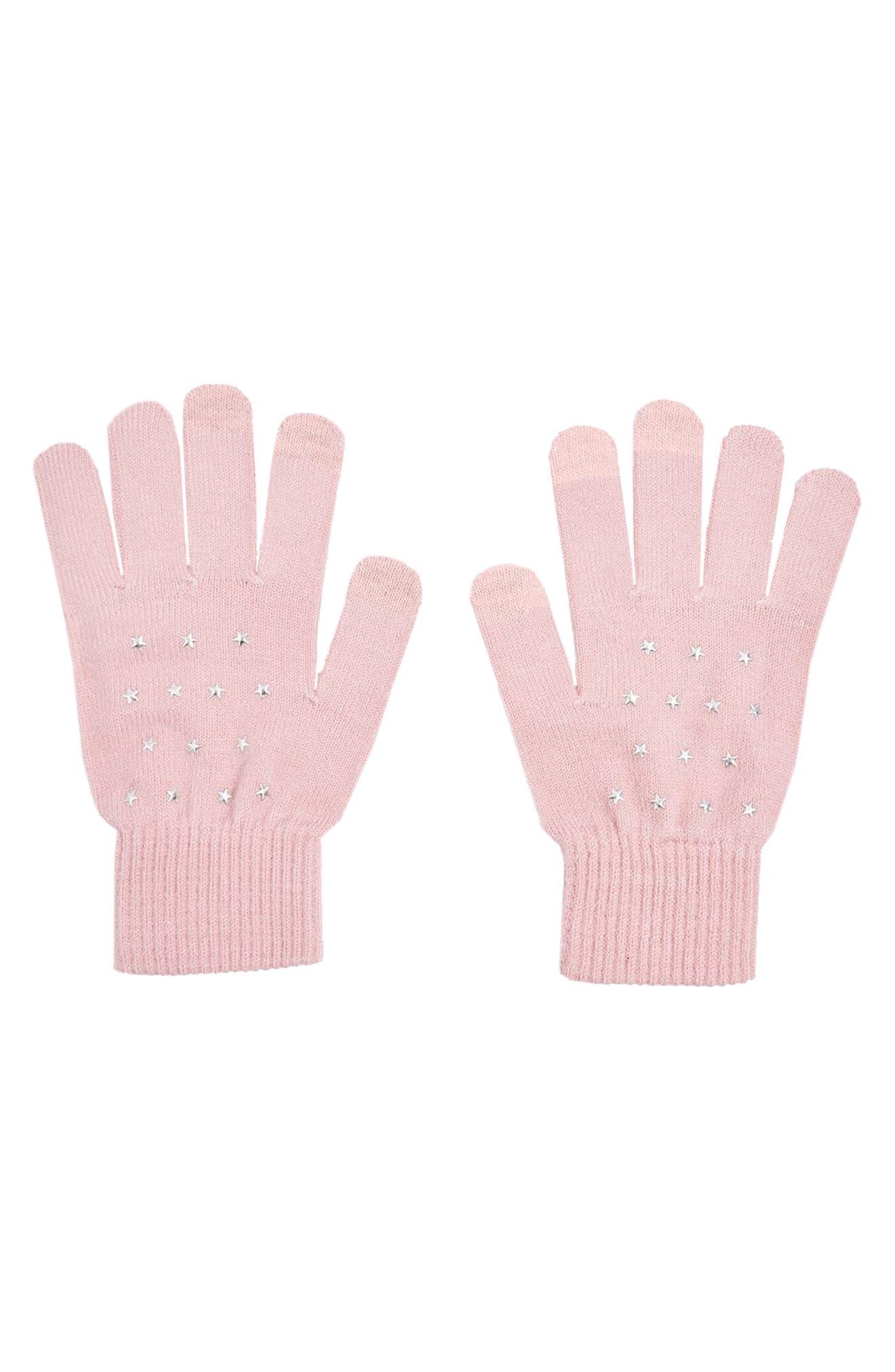 Star Knit Gloves,                             Main thumbnail 1, color,                             Light Pink
