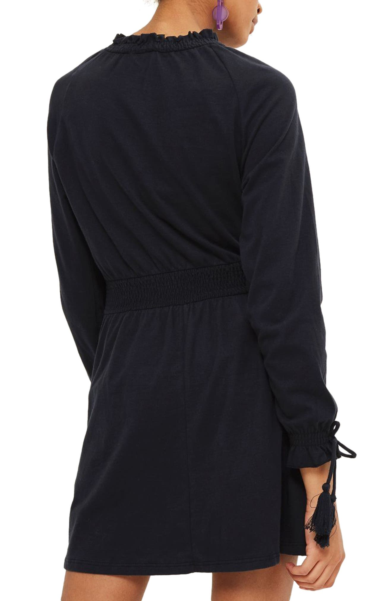 Ruffle Collar Smock Dress,                             Alternate thumbnail 2, color,                             Navy Blue