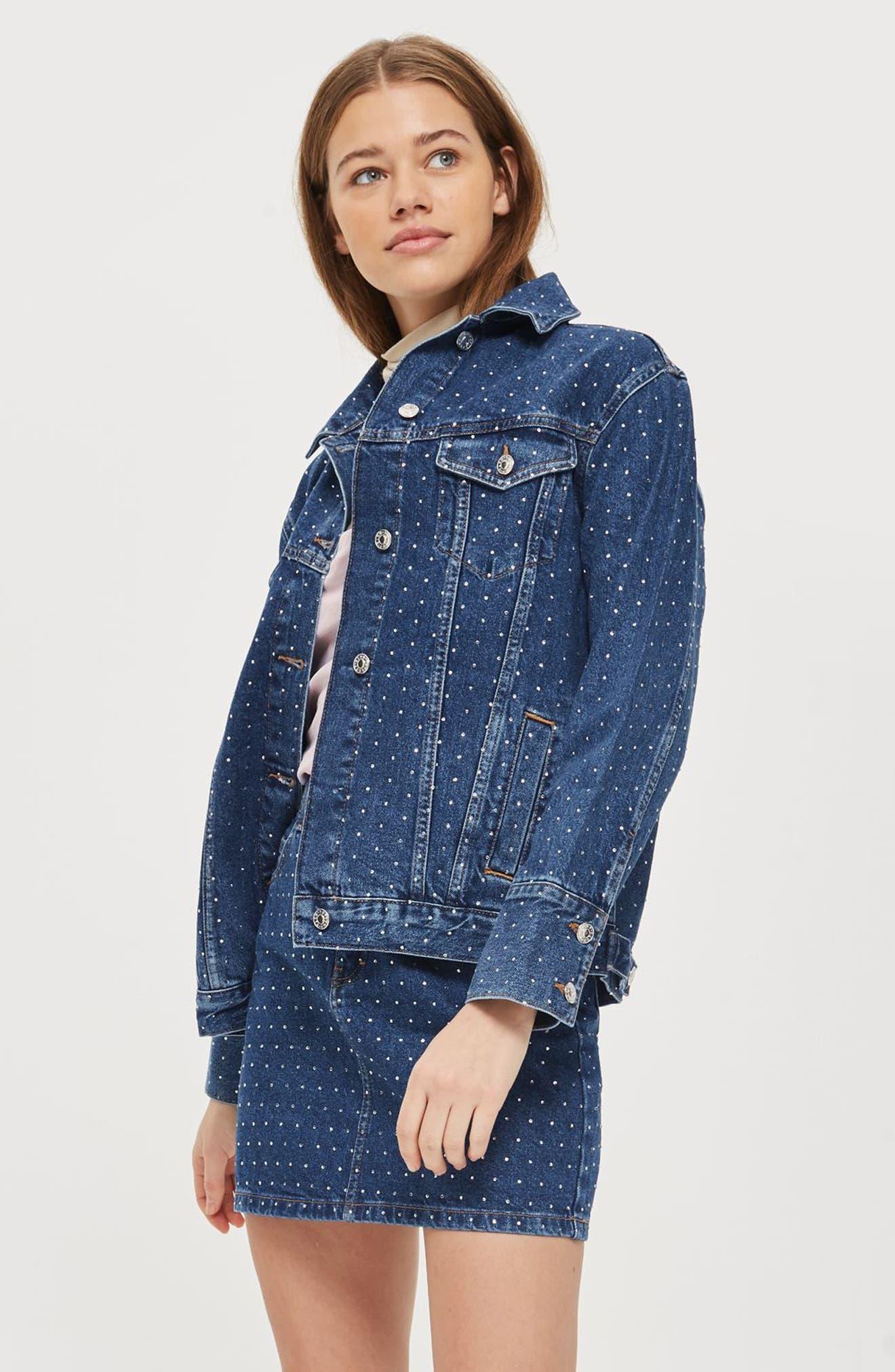 Alternate Image 2  - Topshop Crystal Studded Denim Jacket
