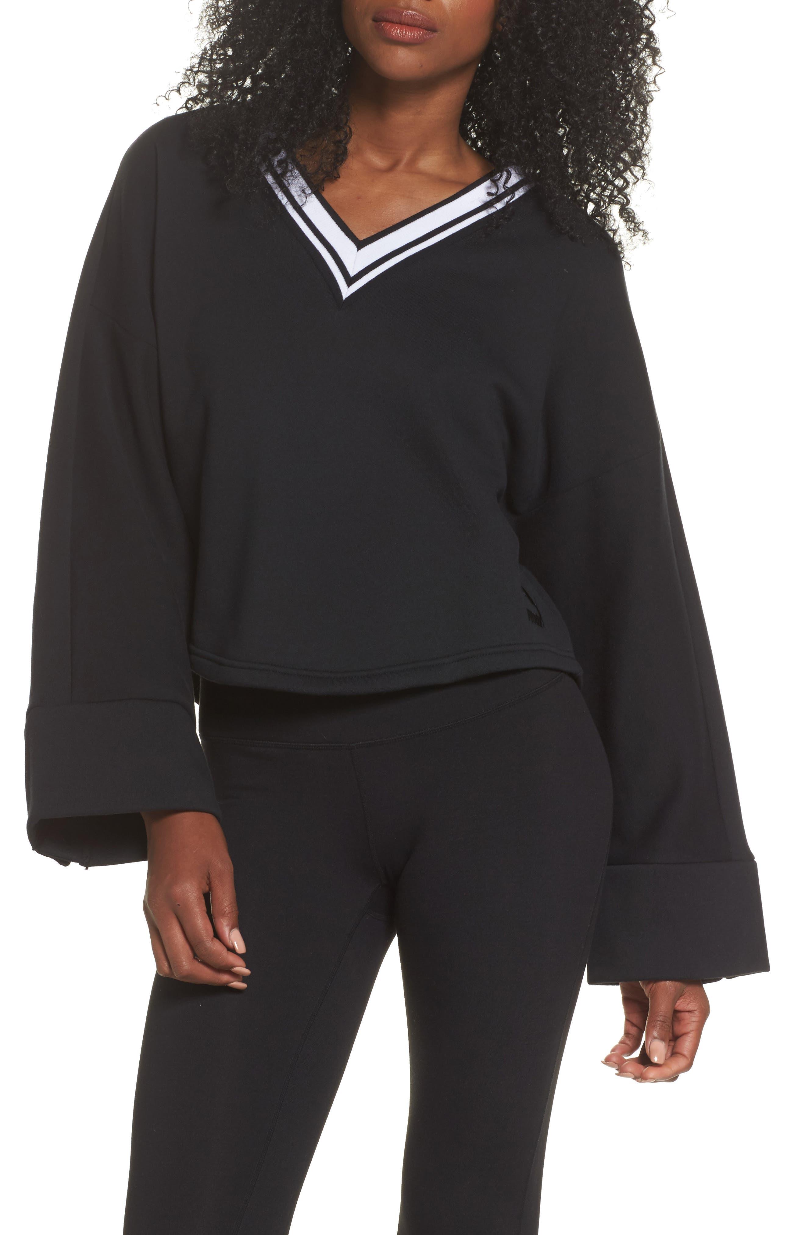 Taped V-Neck Top,                         Main,                         color, Cotton Black