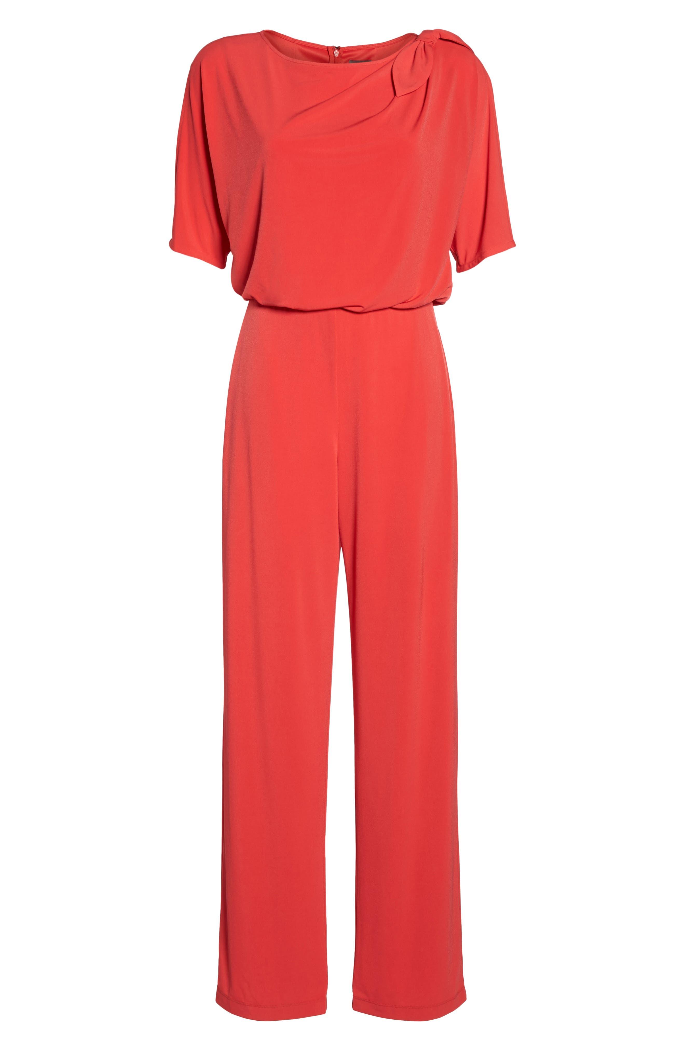 Crepe Split Sleeve Jumpsuit,                             Alternate thumbnail 6, color,                             Red