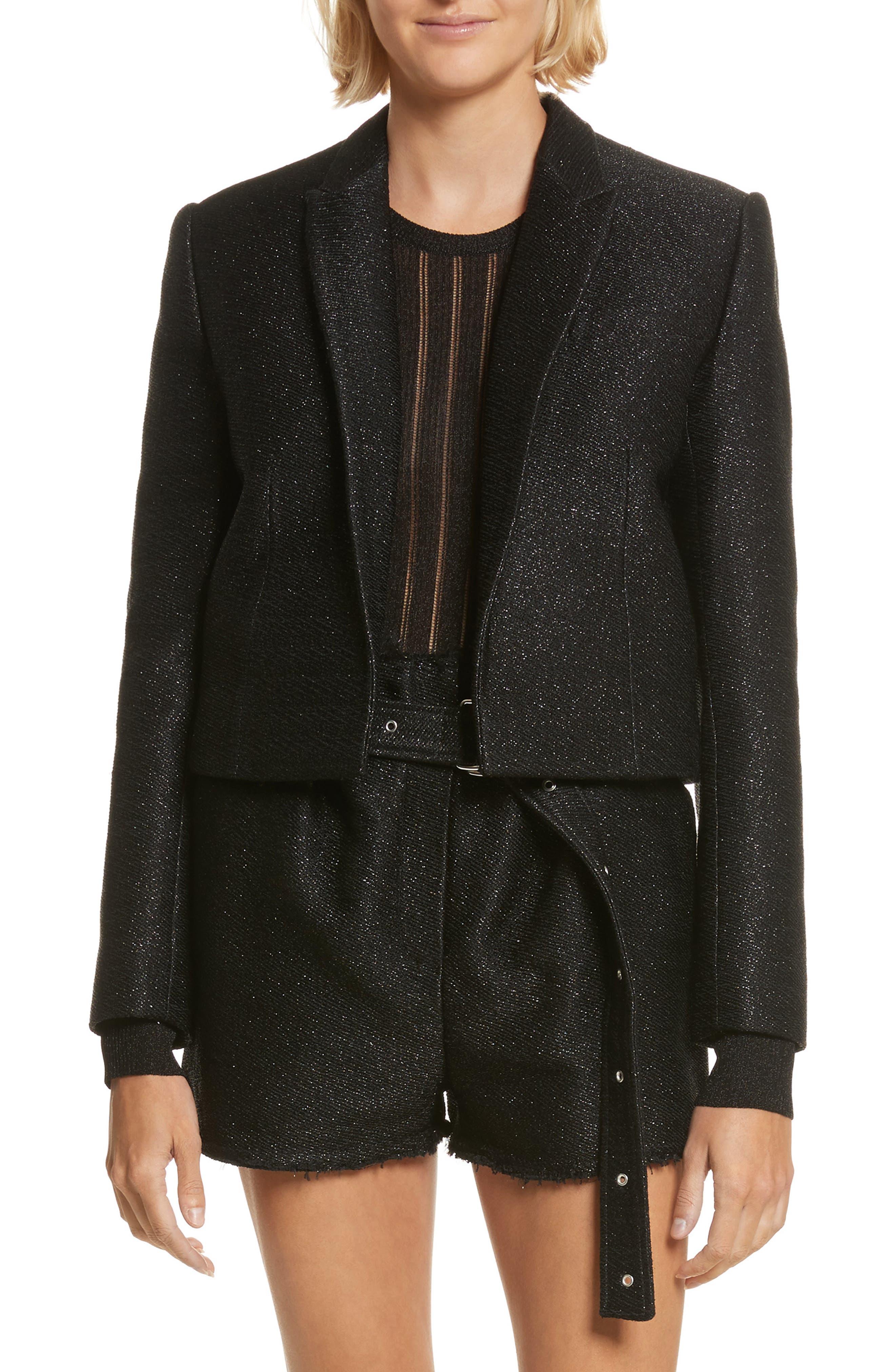 Cholanja Metallic Jacket,                         Main,                         color, Black