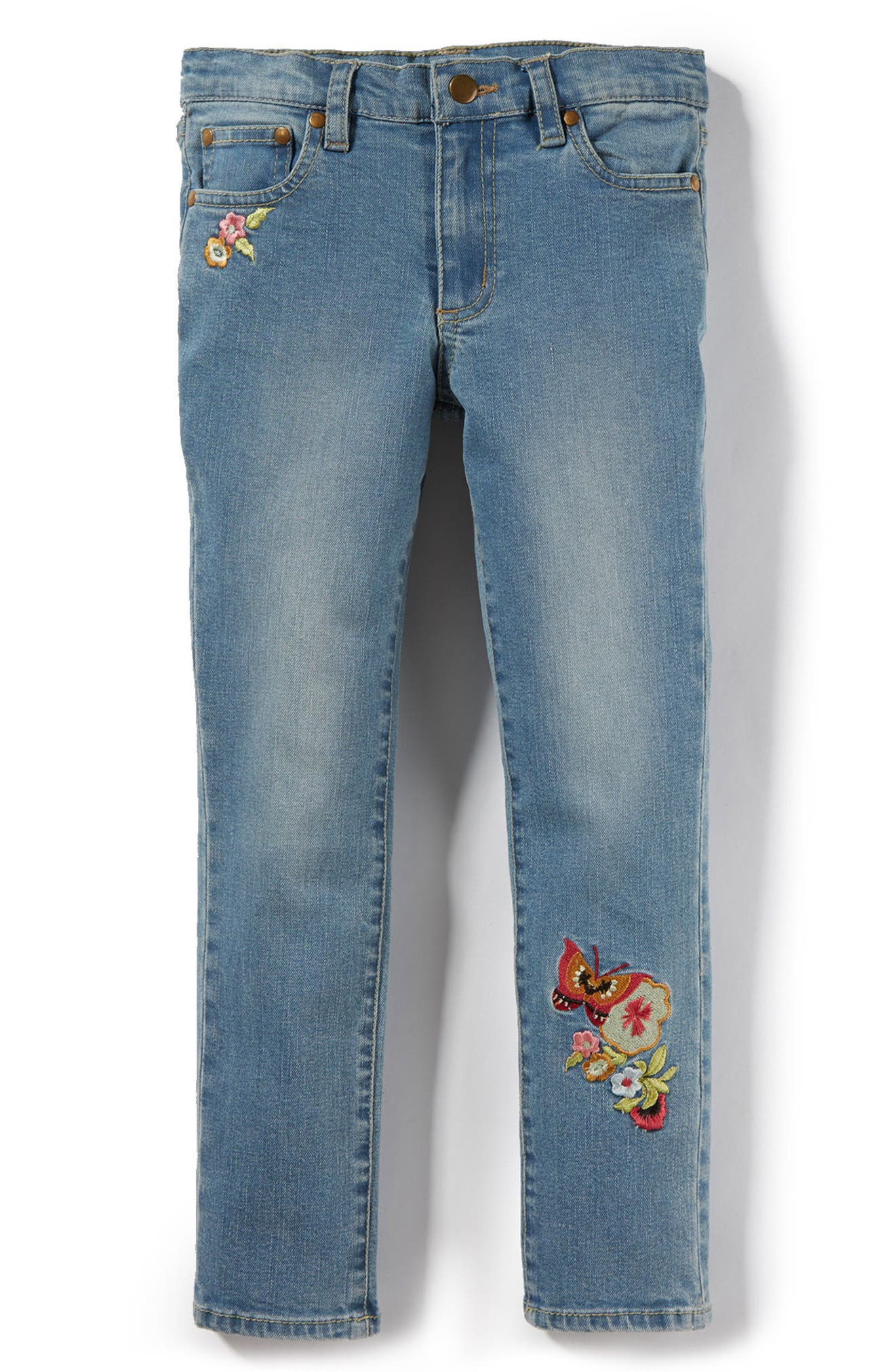 Main Image - Peek Taylor Embroidered Skinny Jeans (Toddler Girls, Little Girls & Big Girls)