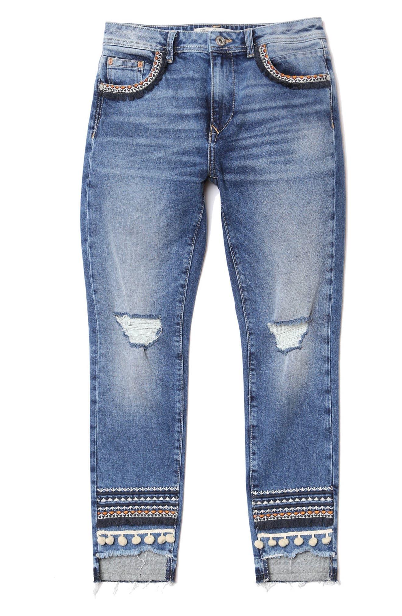 Tess Super Skinny Pompom Jeans,                             Alternate thumbnail 4, color,                             Dark Desert Deco