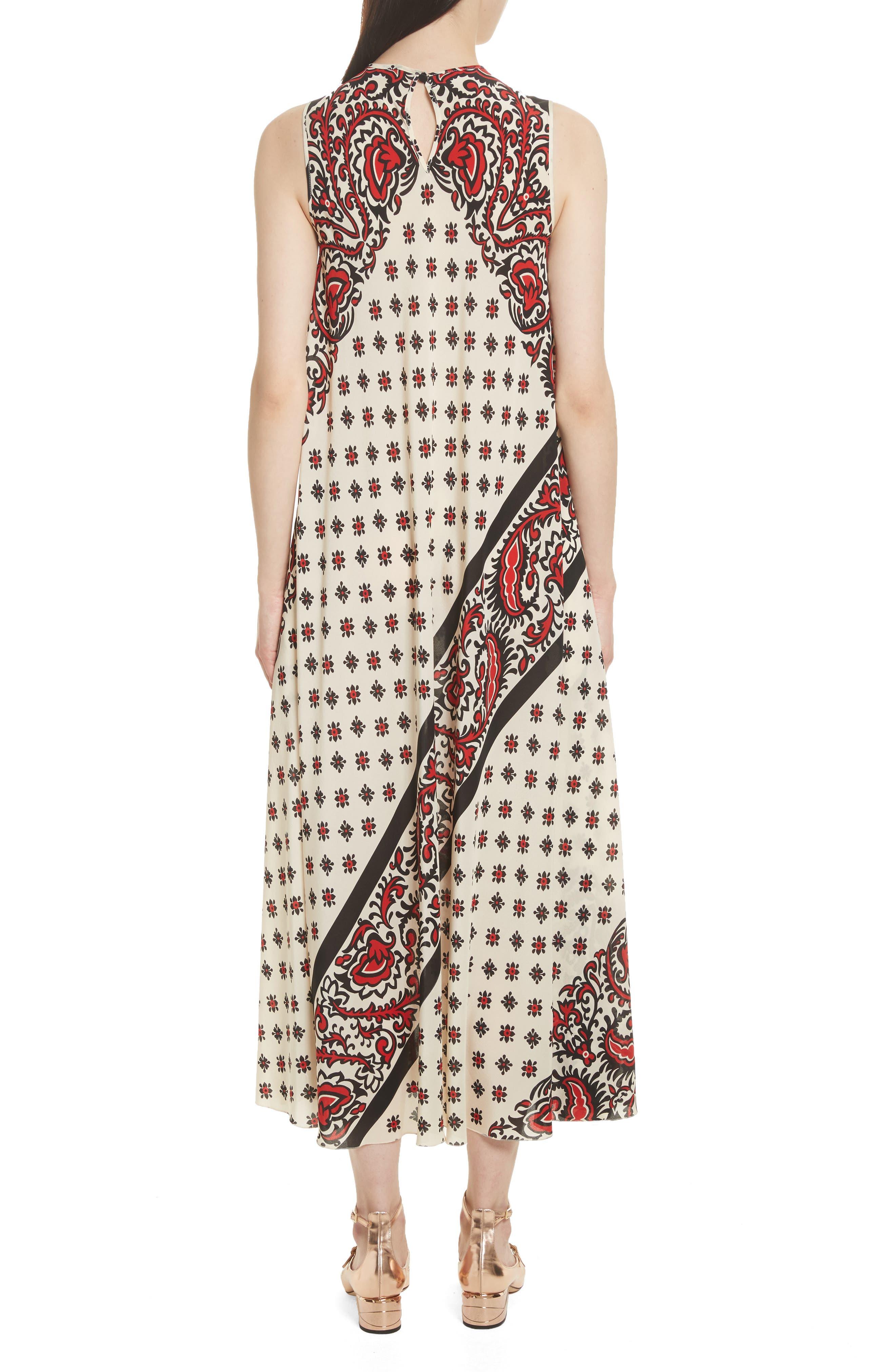 Print Silk Midi Dress,                             Alternate thumbnail 2, color,                             Cherry