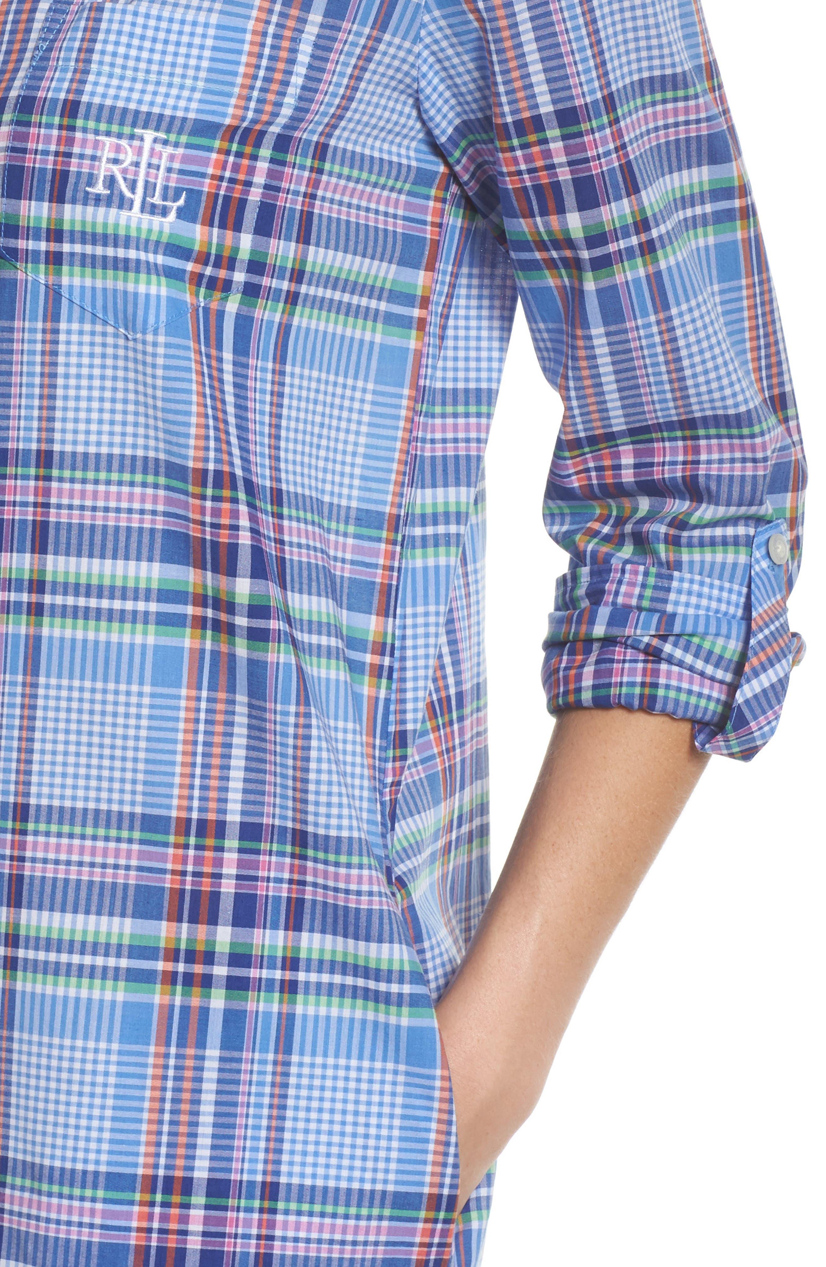 Ballet Plaid Sleep Shirt,                             Alternate thumbnail 5, color,                             Blue Plaid