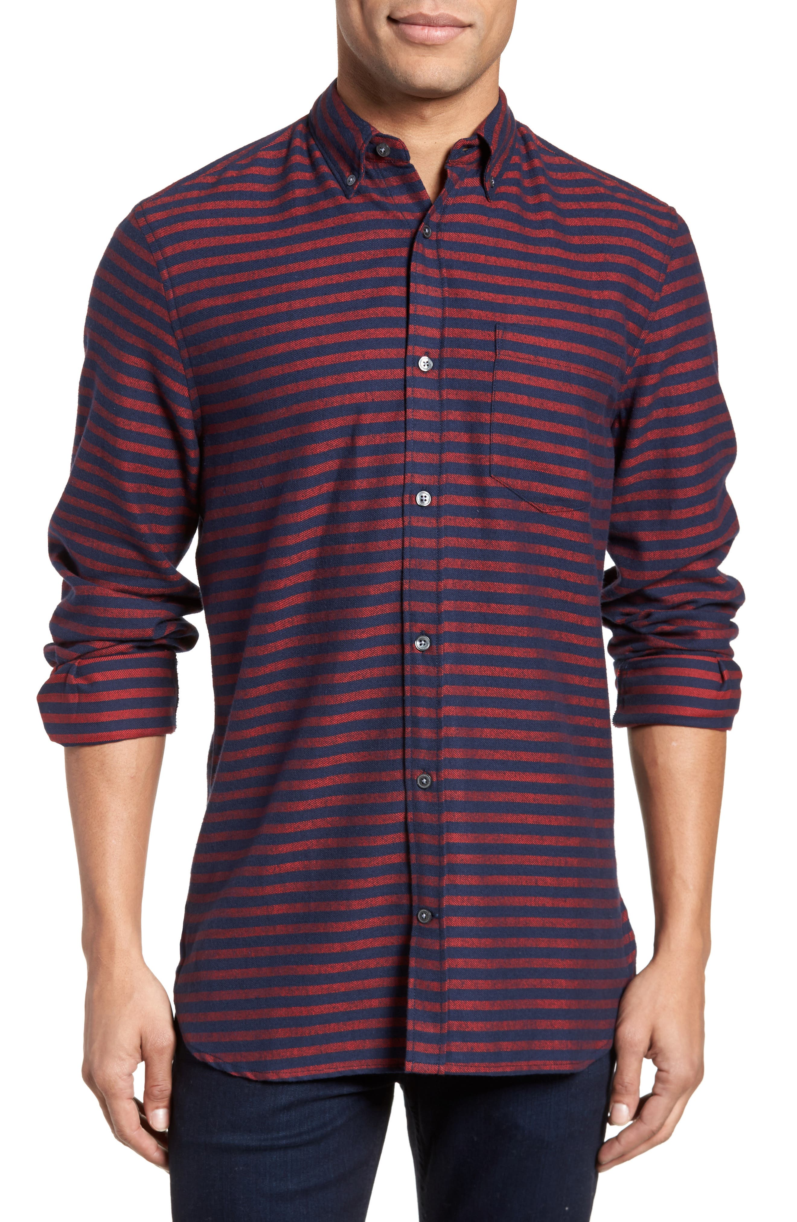 French Connection Regular Fit Stripe Flannel Shirt