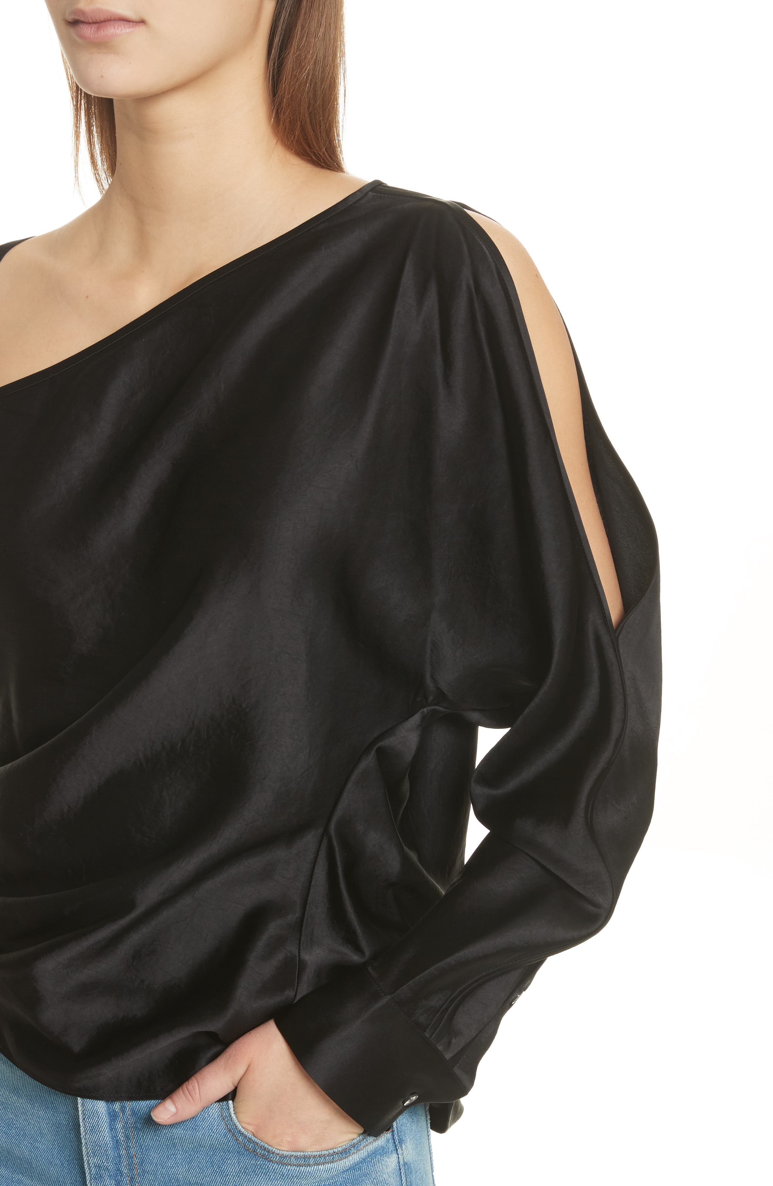 Alternate Image 4  - T by Alexander Wang Satin One-Sleeve Blouse