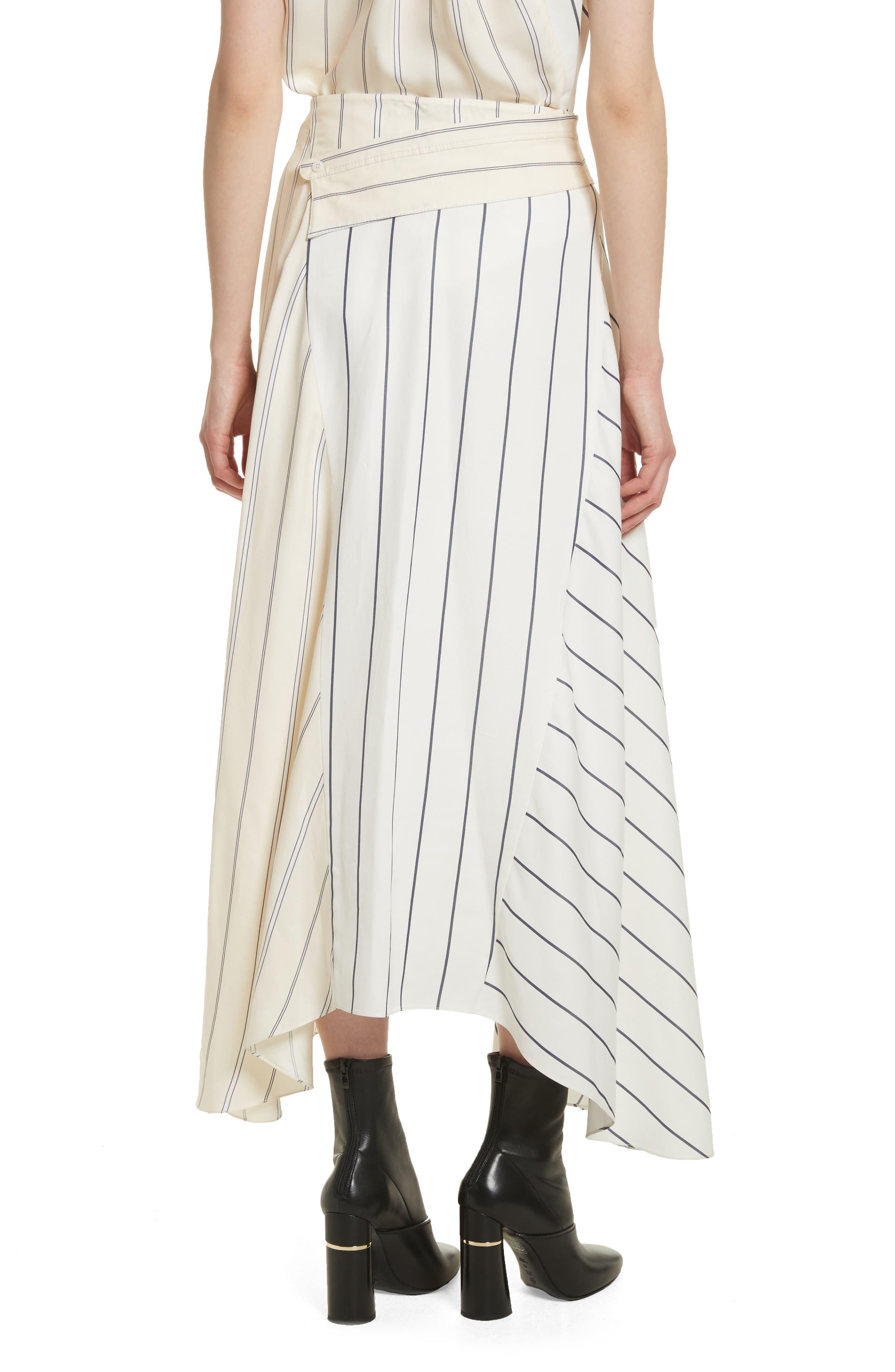 Mixed Stripe Asymmetrical Skirt,                             Alternate thumbnail 2, color,                             Ivory/ Black