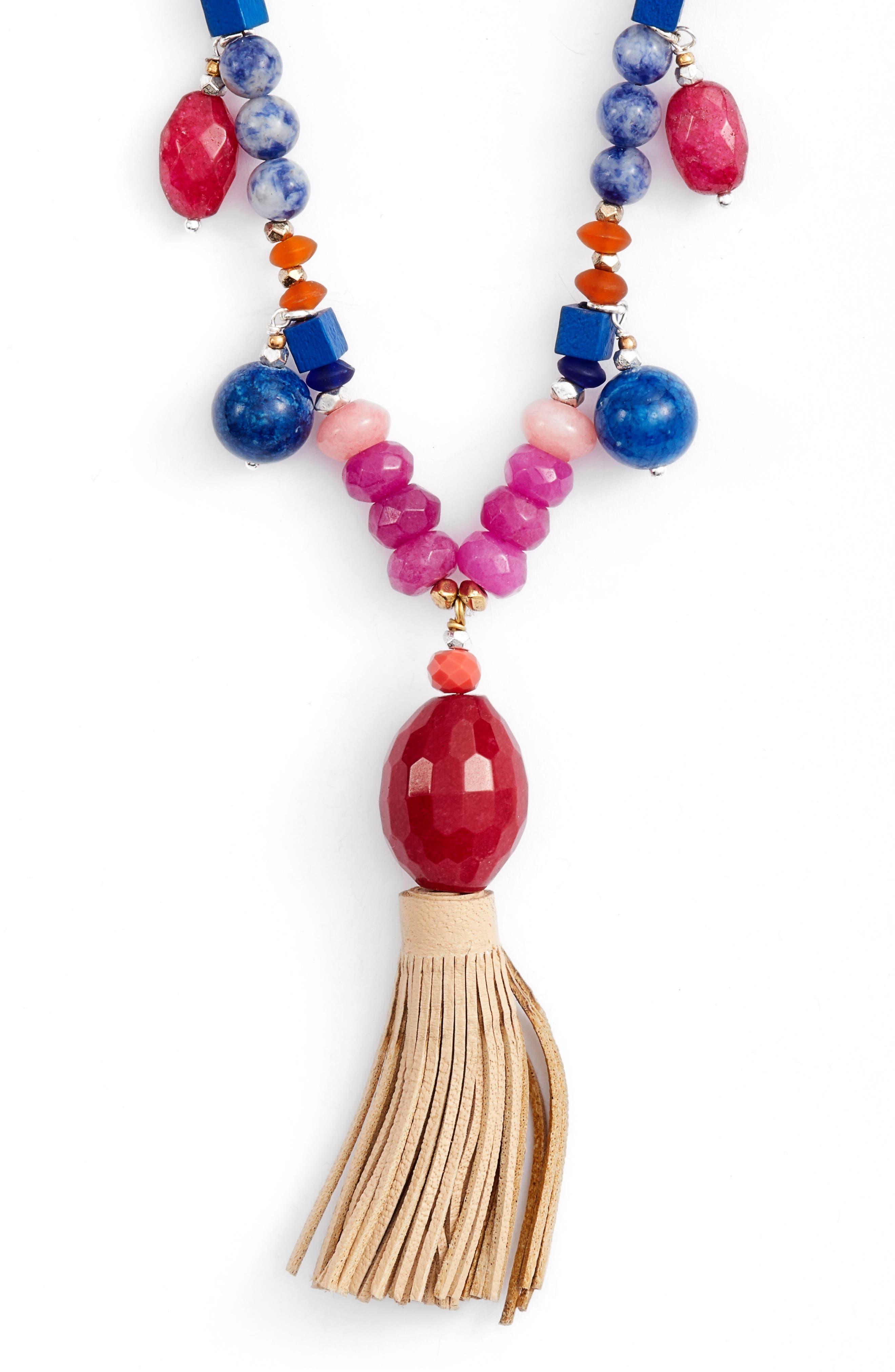 Beaded Tassel Necklace,                             Alternate thumbnail 2, color,                             Multi