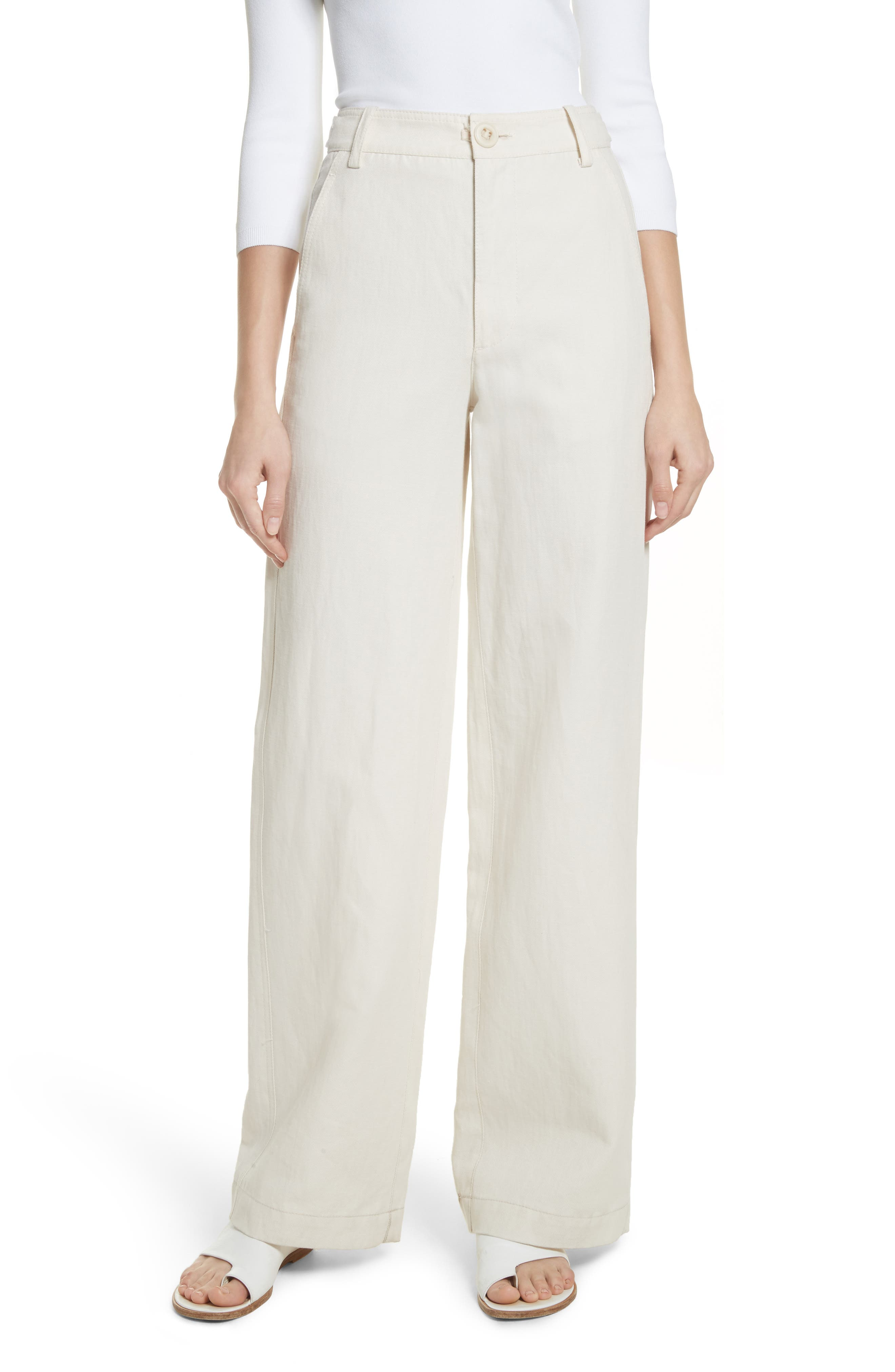 High Rise Linen Blend Wide Leg Pants,                         Main,                         color, Gardenia