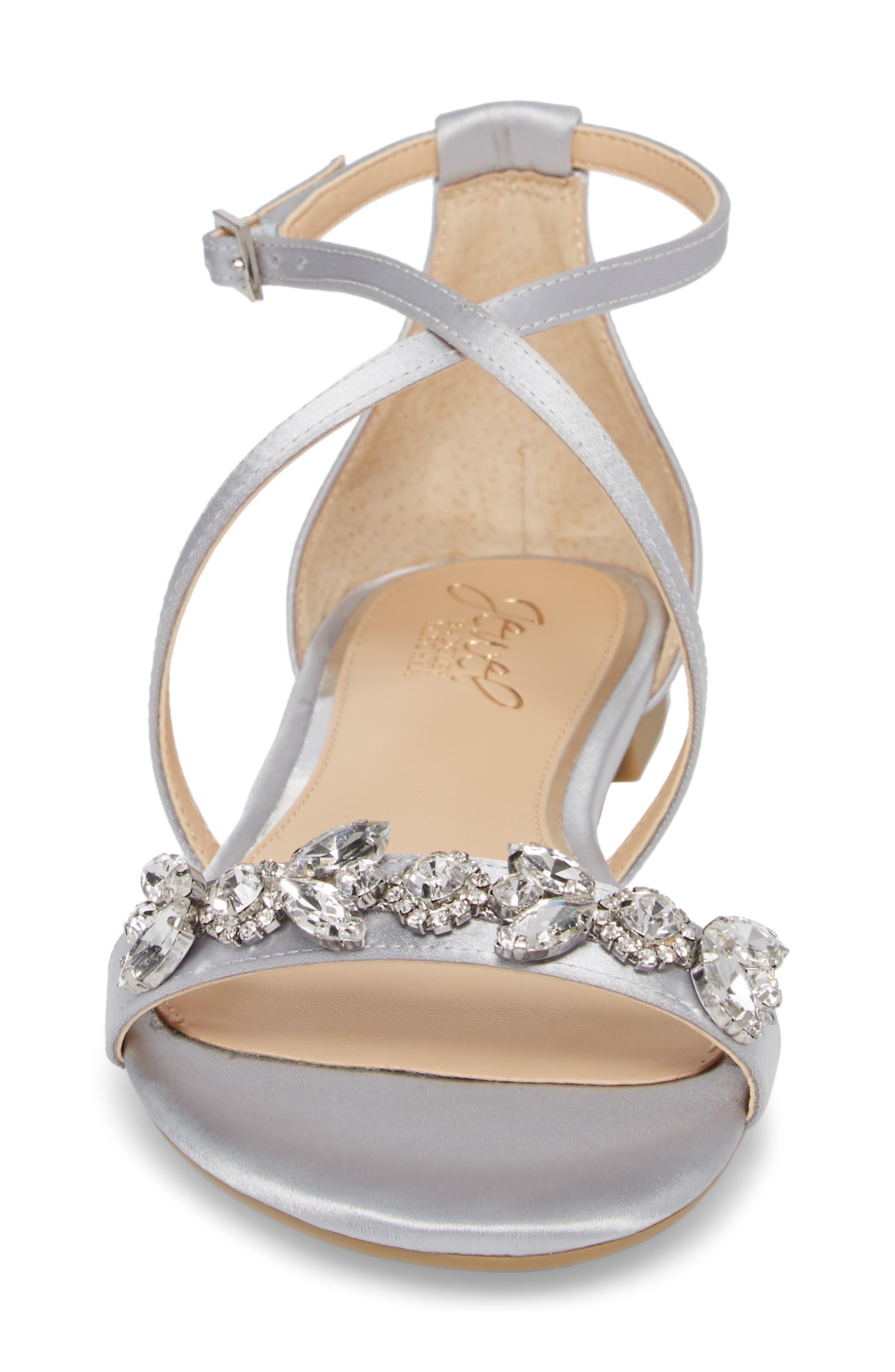 Tessy Embellished Sandal,                             Alternate thumbnail 4, color,                             Silver Satin
