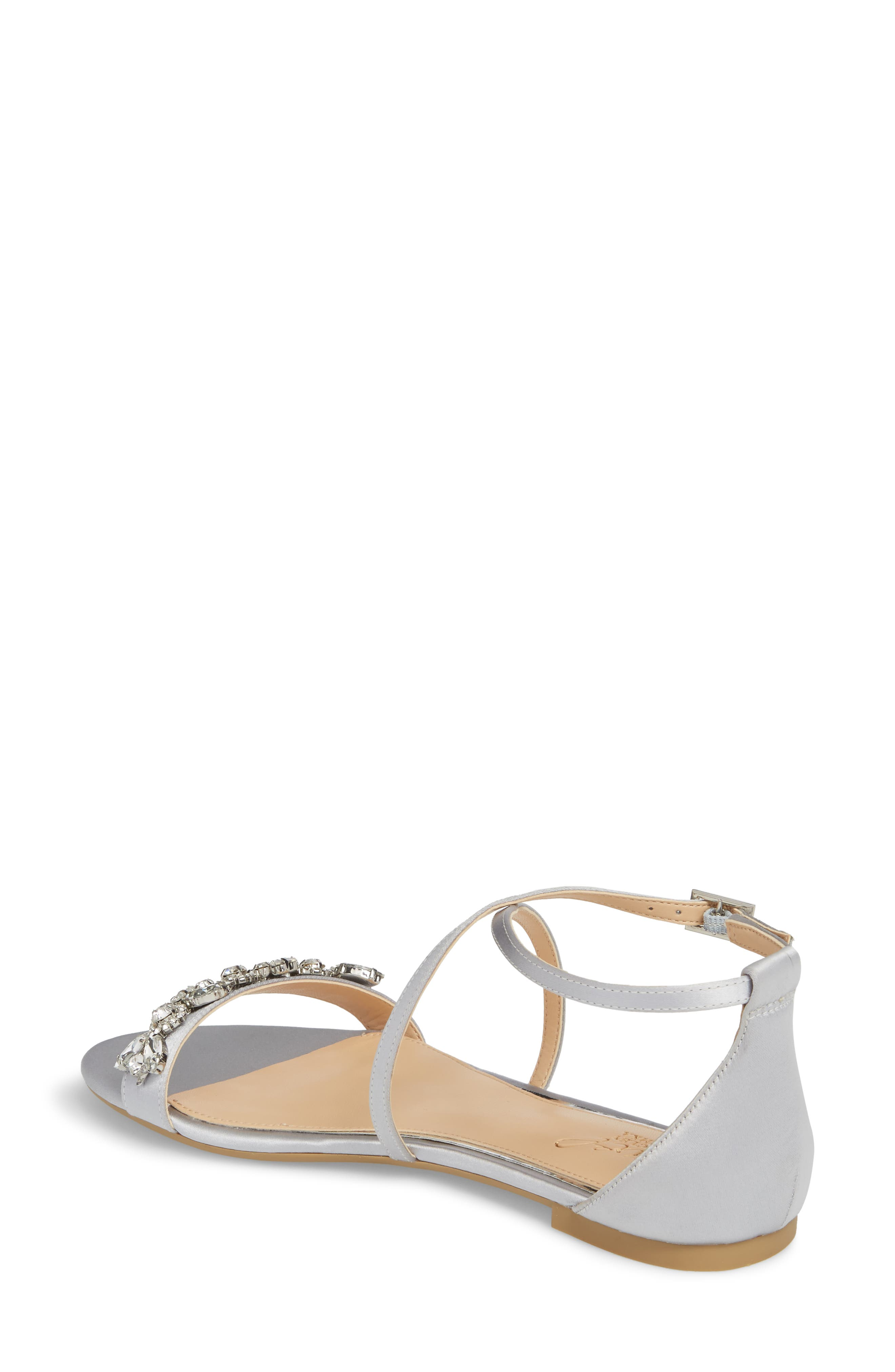 Tessy Embellished Sandal,                             Alternate thumbnail 2, color,                             Silver Satin