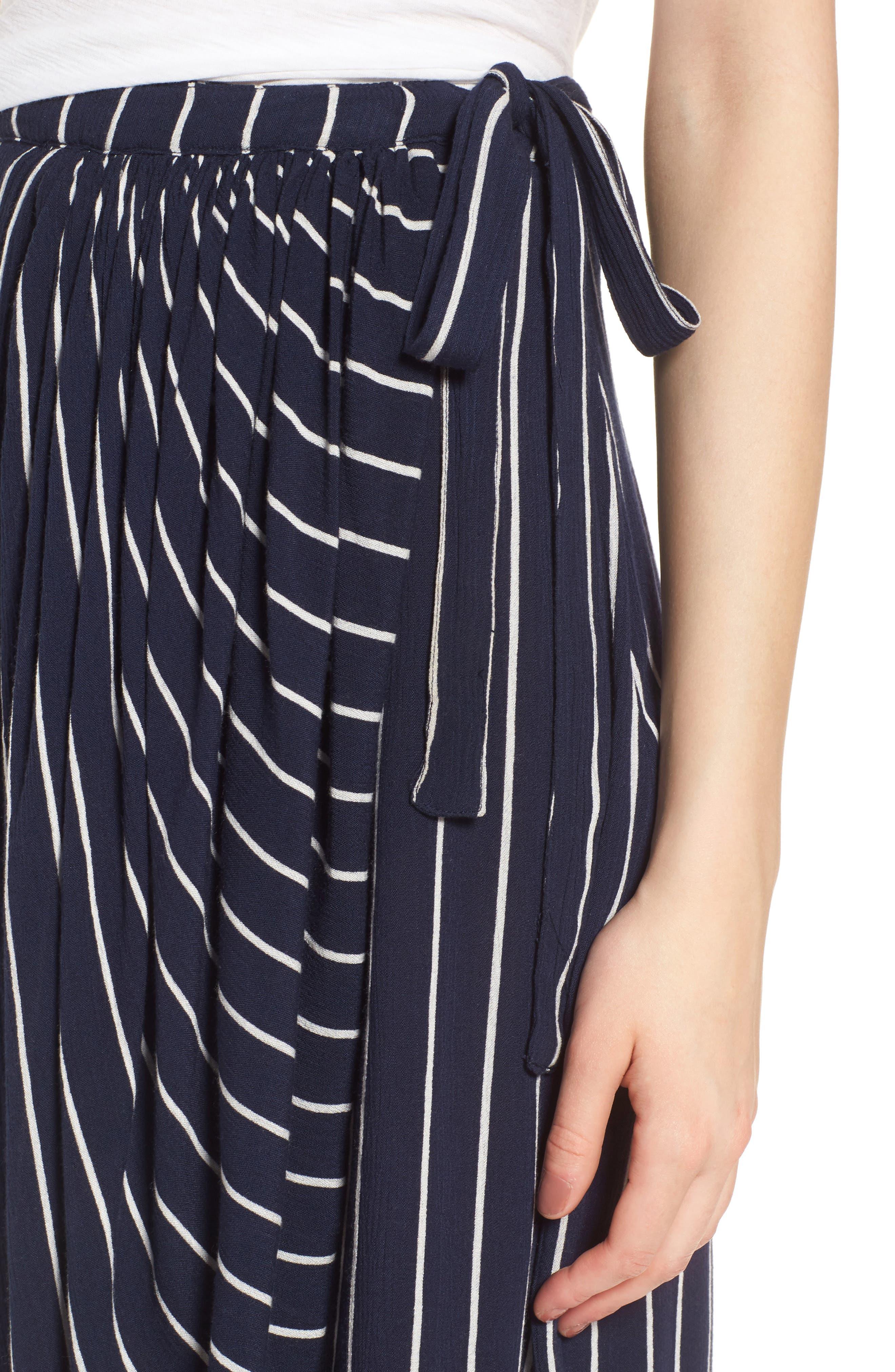 So Right Stripe Faux Wrap Skirt,                             Alternate thumbnail 5, color,                             Deep Sea
