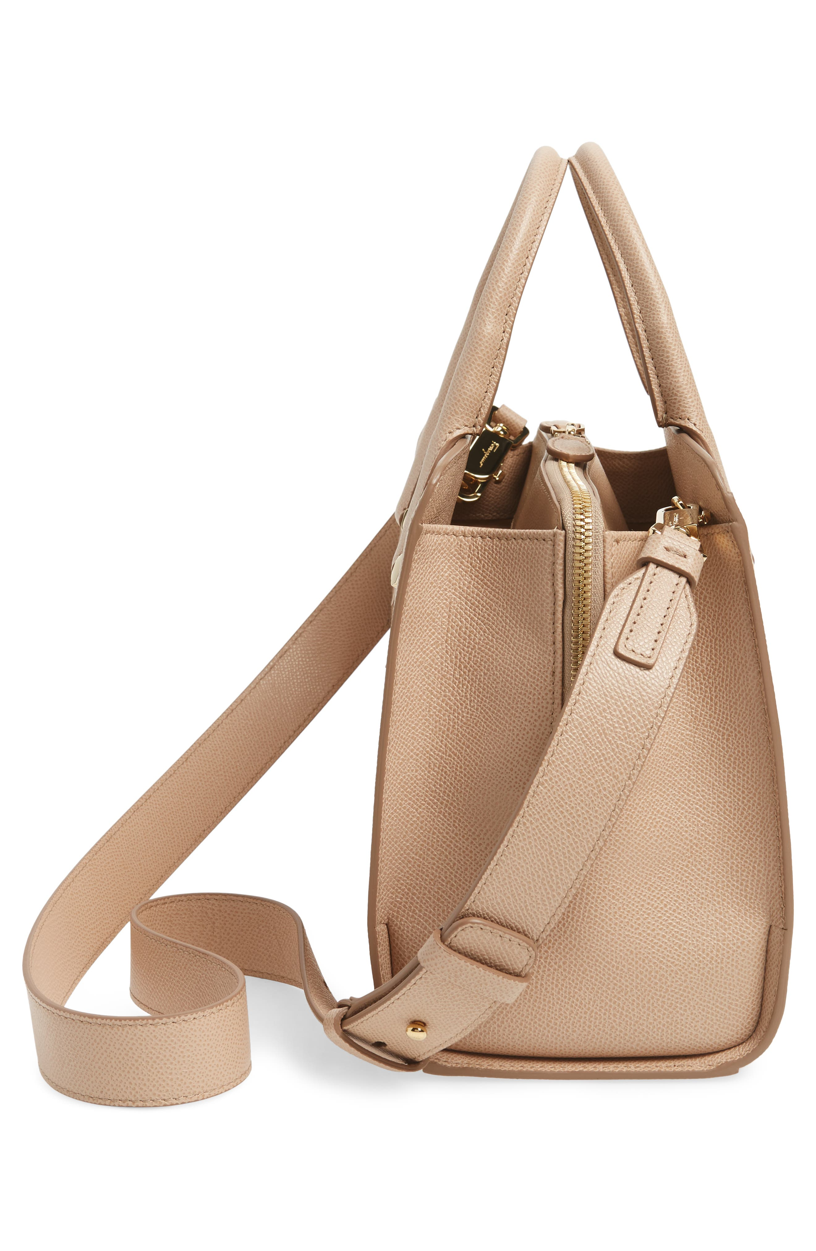 Small Today Leather Satchel,                             Alternate thumbnail 5, color,                             Almond/ Sable