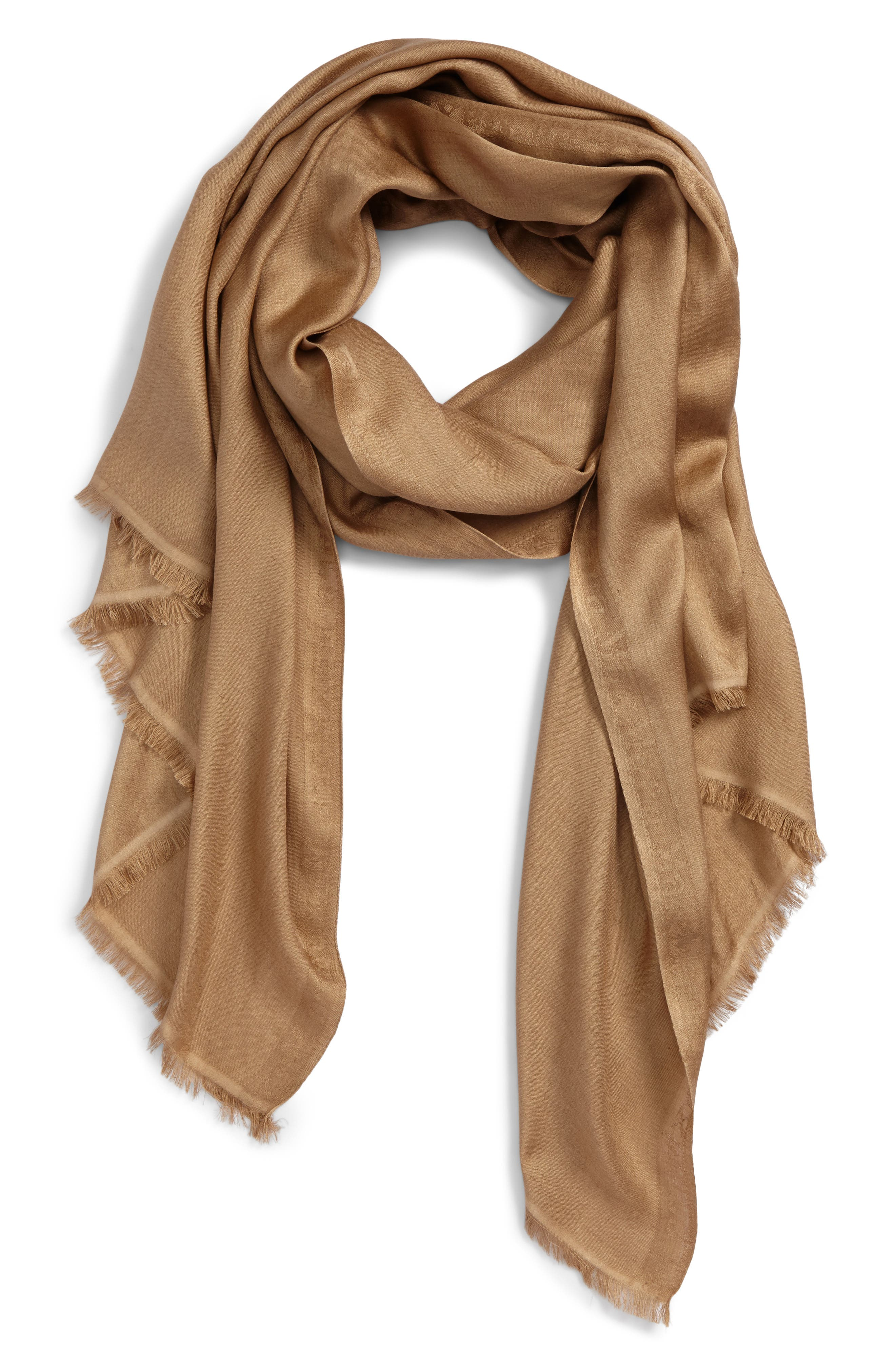 Upupa Silk Scarf,                             Alternate thumbnail 2, color,                             Camel