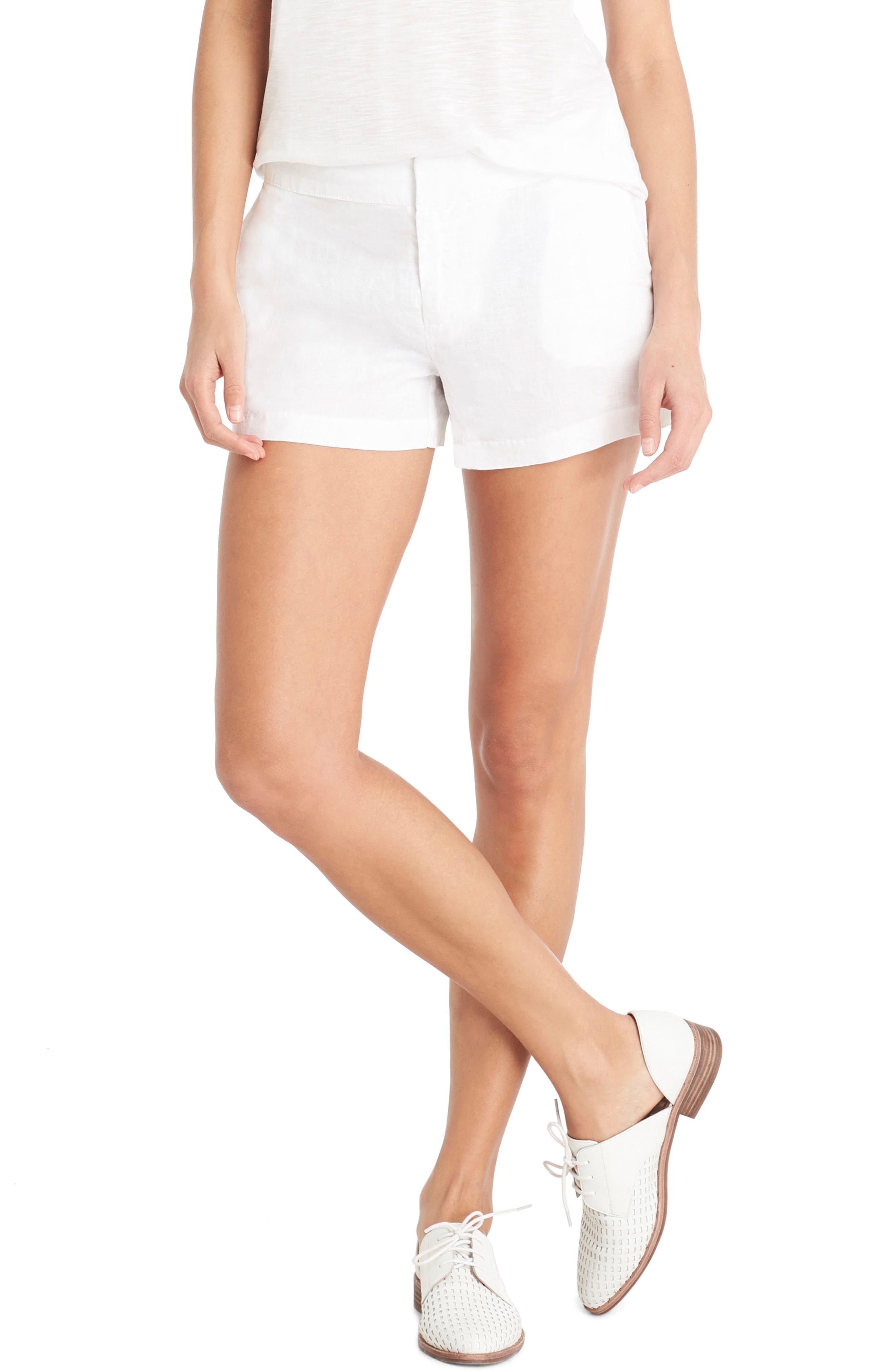 Linen Shorts,                             Main thumbnail 1, color,                             White